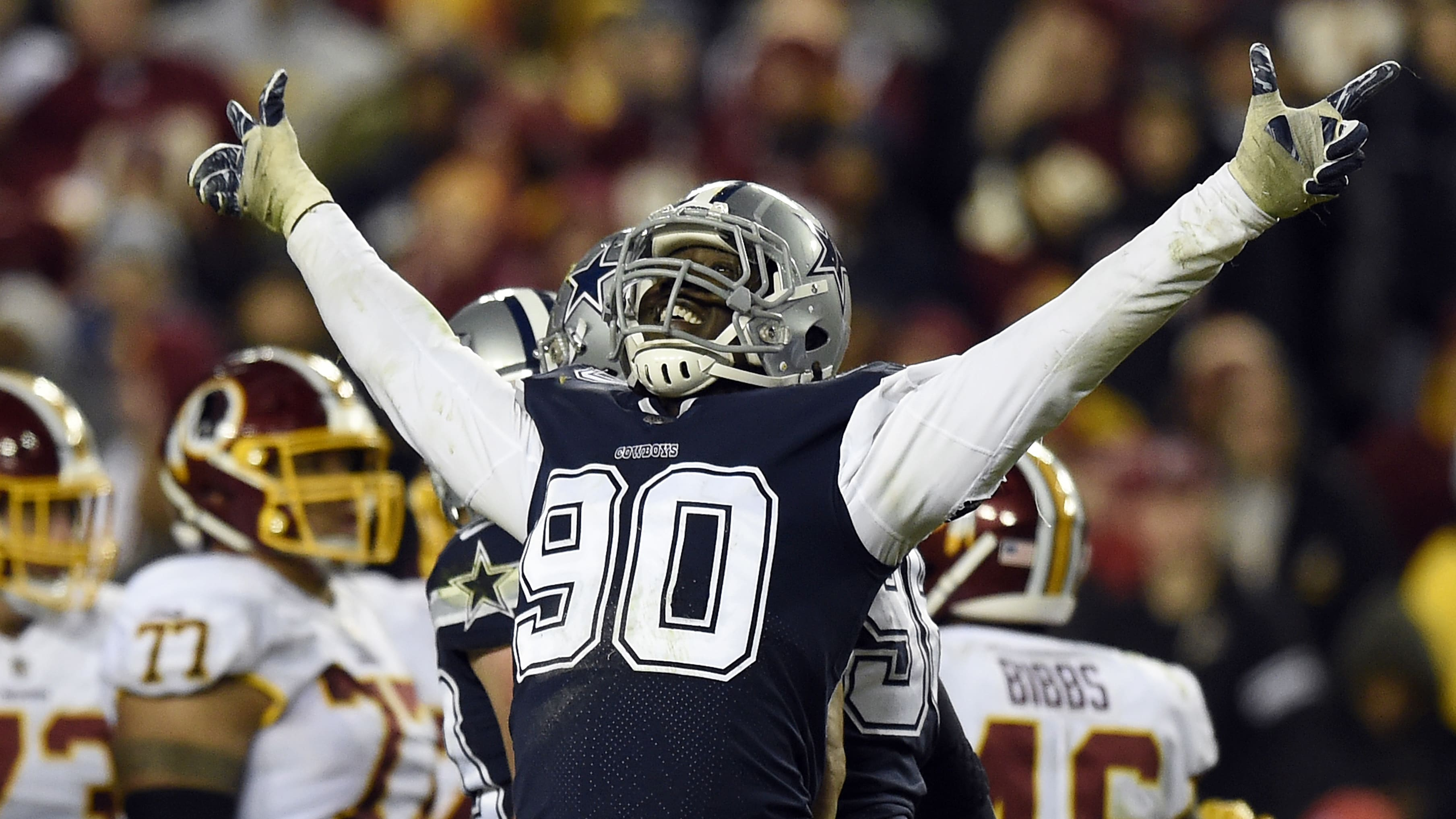 LANDOVER, MD - OCTOBER 21: Defensive end Demarcus Lawrence #90 of the Dallas Cowboys reacts after a play in the fourth quarter against the Washington Redskins at FedExField on October 21, 2018 in Landover, Maryland. (Photo by Patrick McDermott/Getty Images)