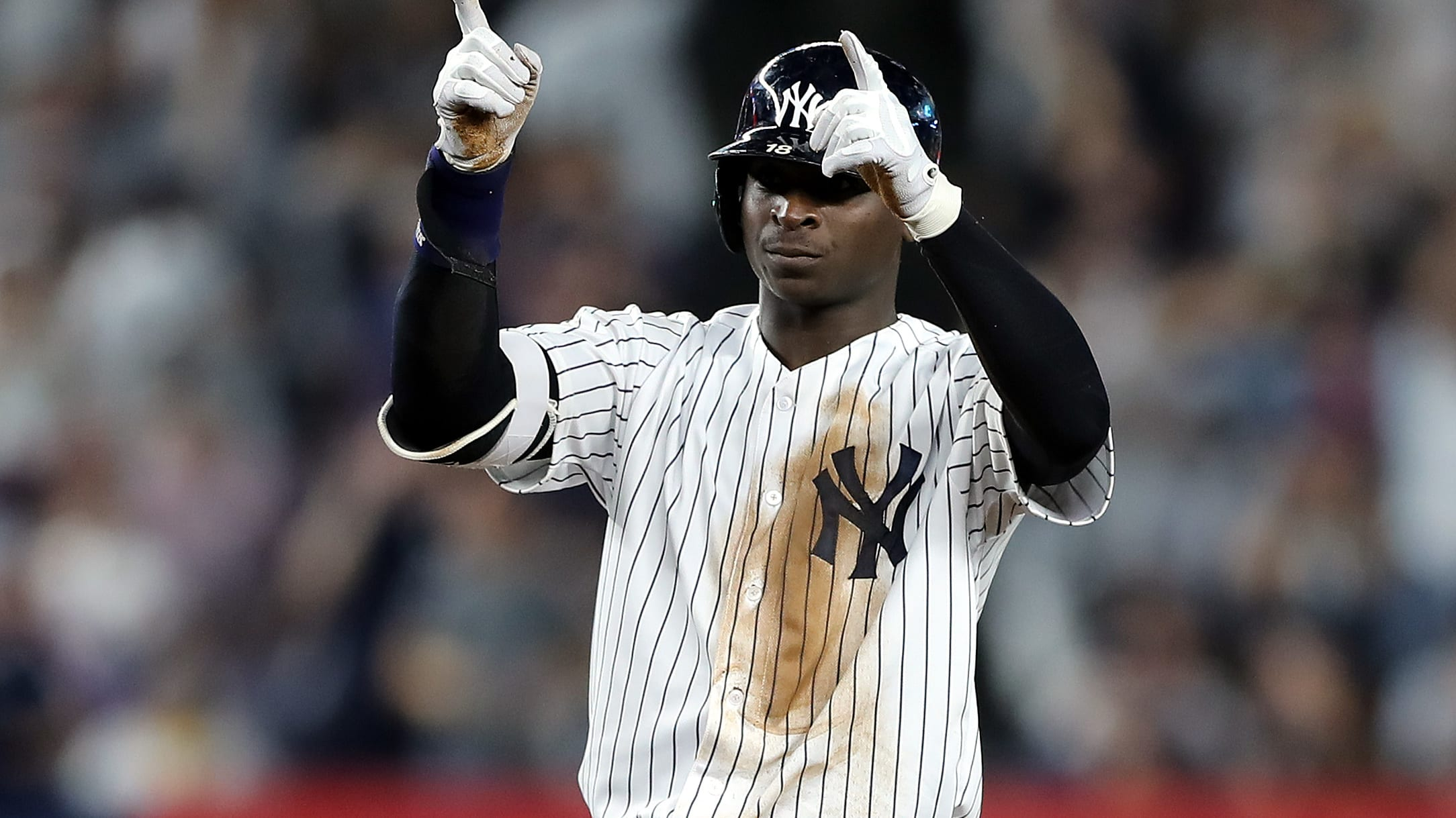 NEW YORK, NEW YORK - OCTOBER 09:  Didi Gregorius #18 of the New York Yankees reacts after a double in the fourth inning against the Boston Red Sox during Game Four American League Division Series at Yankee Stadium on October 09, 2018 in the Bronx borough of New York City. (Photo by Elsa/Getty Images)
