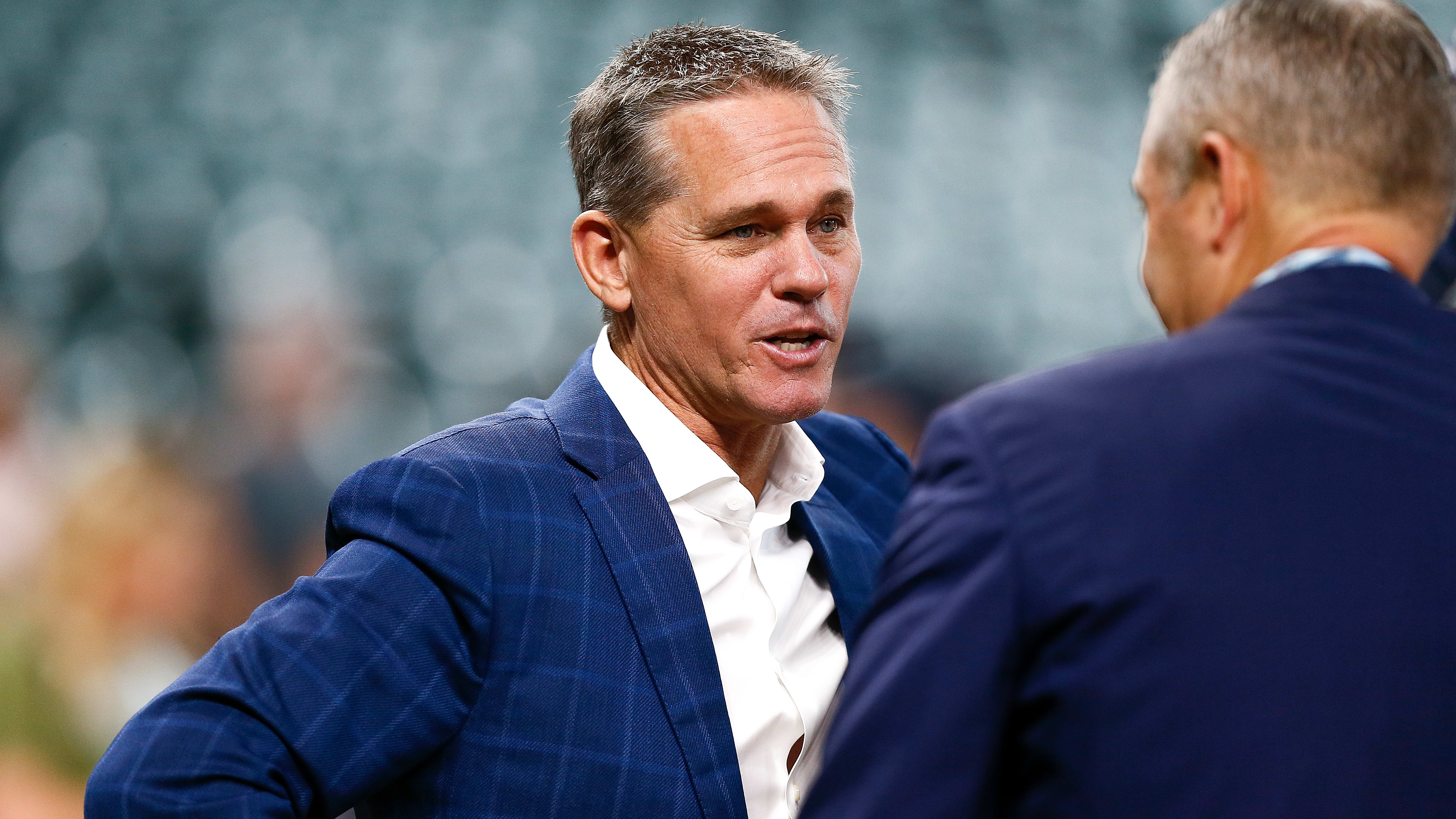 HOUSTON, TX - OCTOBER 06:  Hall of Famer and former Houston Astros player Craig Biggio talks with Houston Astros president Reid Ryan during batting practice prior to Game Two of the American League Division Series against the Cleveland Indians at Minute Maid Park on October 6, 2018 in Houston, Texas.  (Photo by Bob Levey/Getty Images)