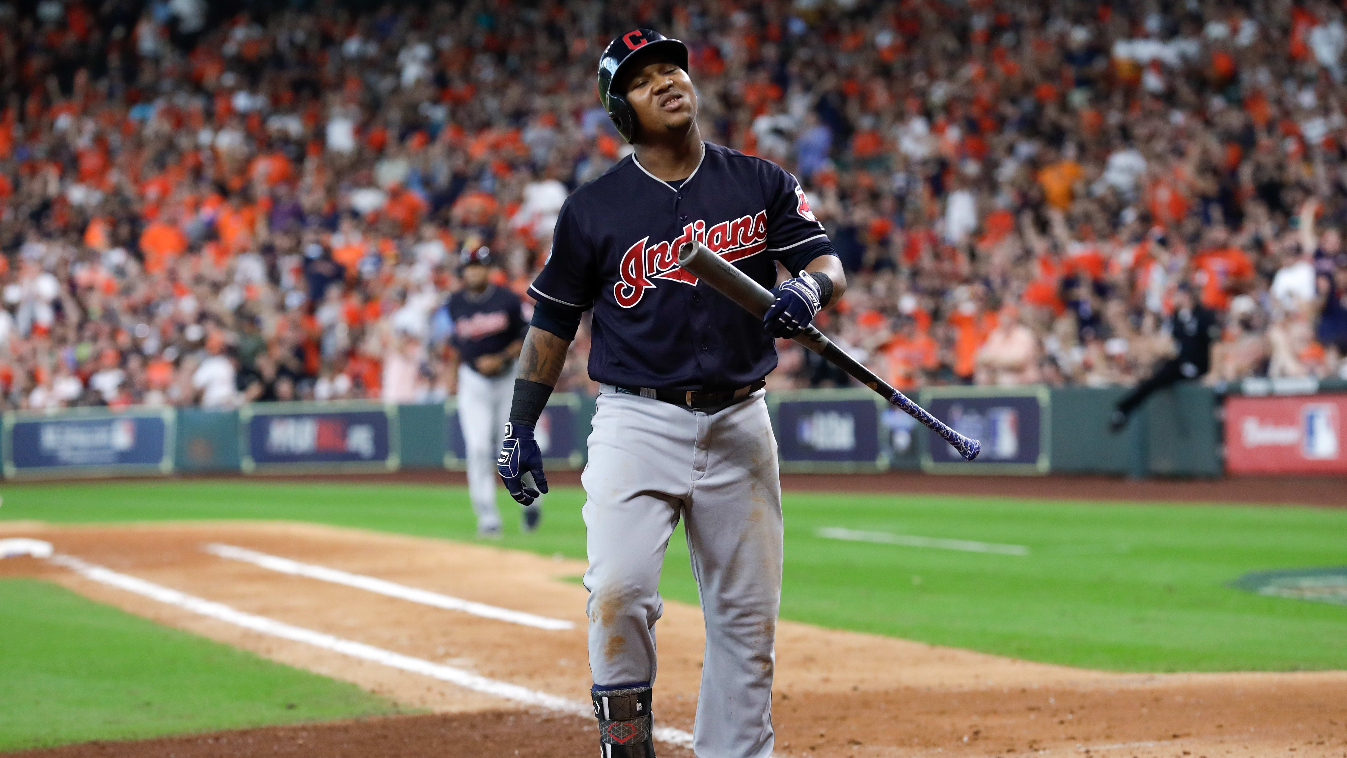 HOUSTON, TX - OCTOBER 06:  Jose Ramirez #11 of the Cleveland Indians reacts after a strikeout against the Houston Astros during Game Two of the American League Division Series at Minute Maid Park on October 6, 2018 in Houston, Texas.  (Photo by Tim Warner/Getty Images)