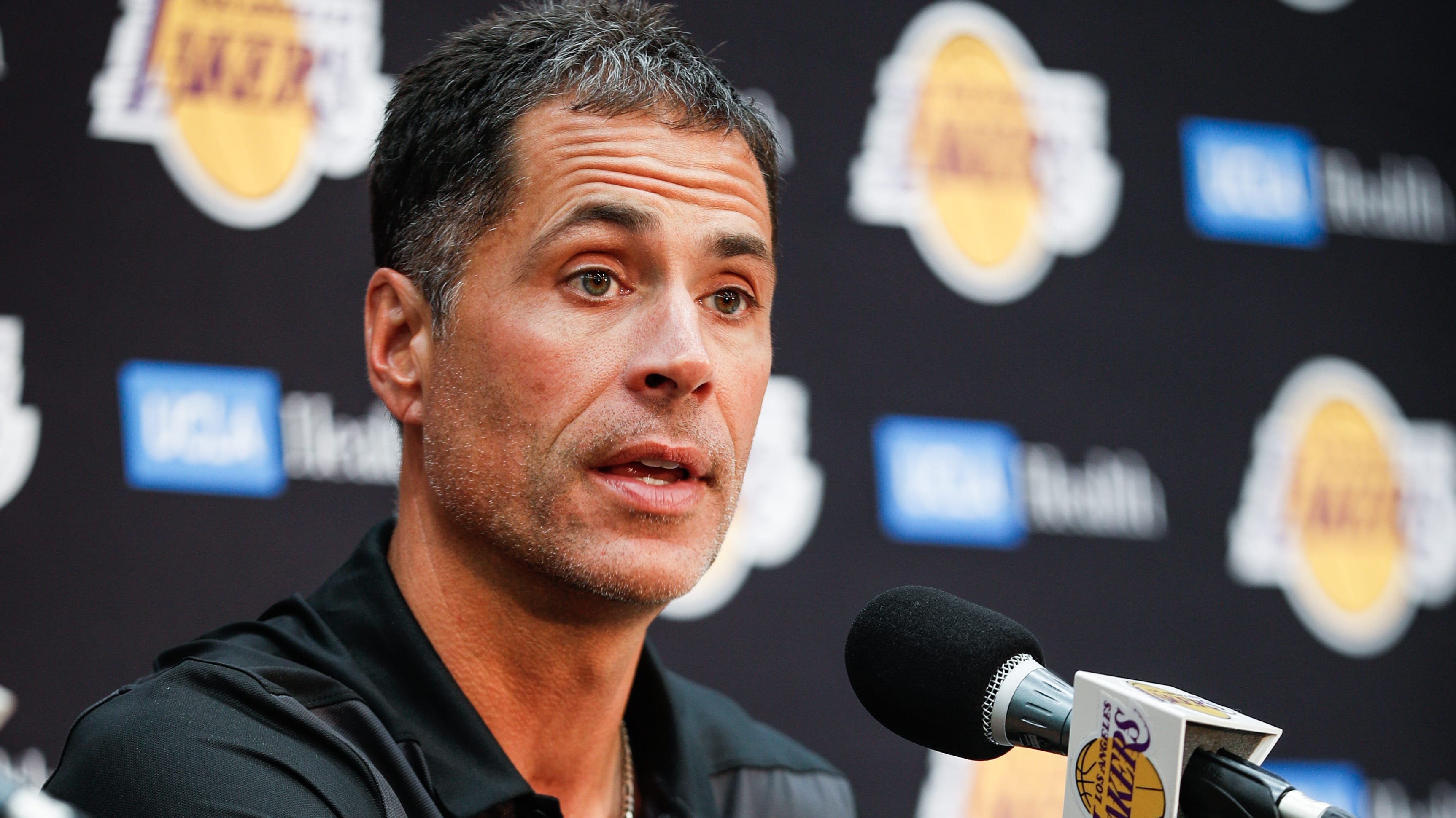 EL SEGUNDO, CA - SEPTEMBER 20: Rob Pelinka discusses the upcoming Los Angeles Lakers' season at UCLA Health Training Center on September 20, 2018 in El Segundo, California. (Photo by Meg Oliphant/Getty Images)