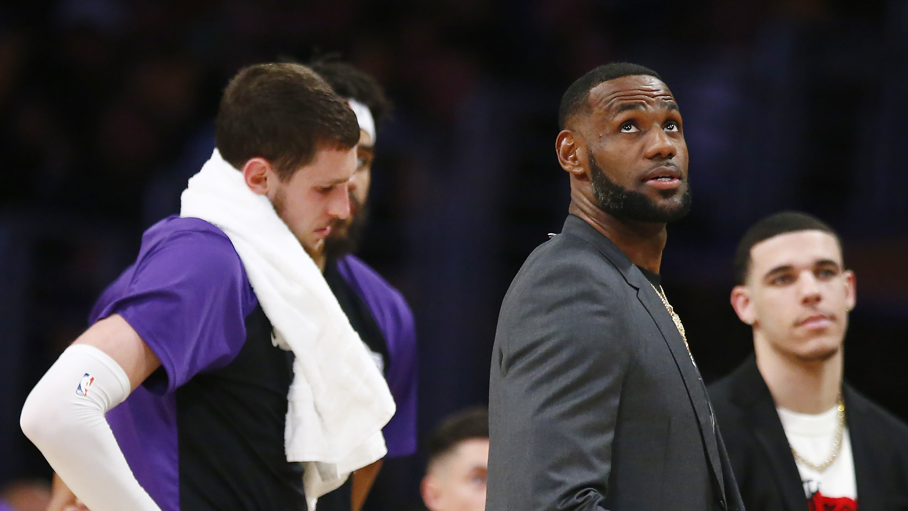 LOS ANGELES, CALIFORNIA - APRIL 04: LeBron James #23 of the Los Angeles Lakers looks on during a timeout in the second half of the game against the Golden State Warriors at Staples Center on April 04, 2019 in Los Angeles, California. NOTE TO USER: User expressly acknowledges and agrees that, by downloading and or using this photograph, User is consenting to the terms and conditions of the Getty Images License Agreement. (Photo by Yong Teck Lim/Getty Images)