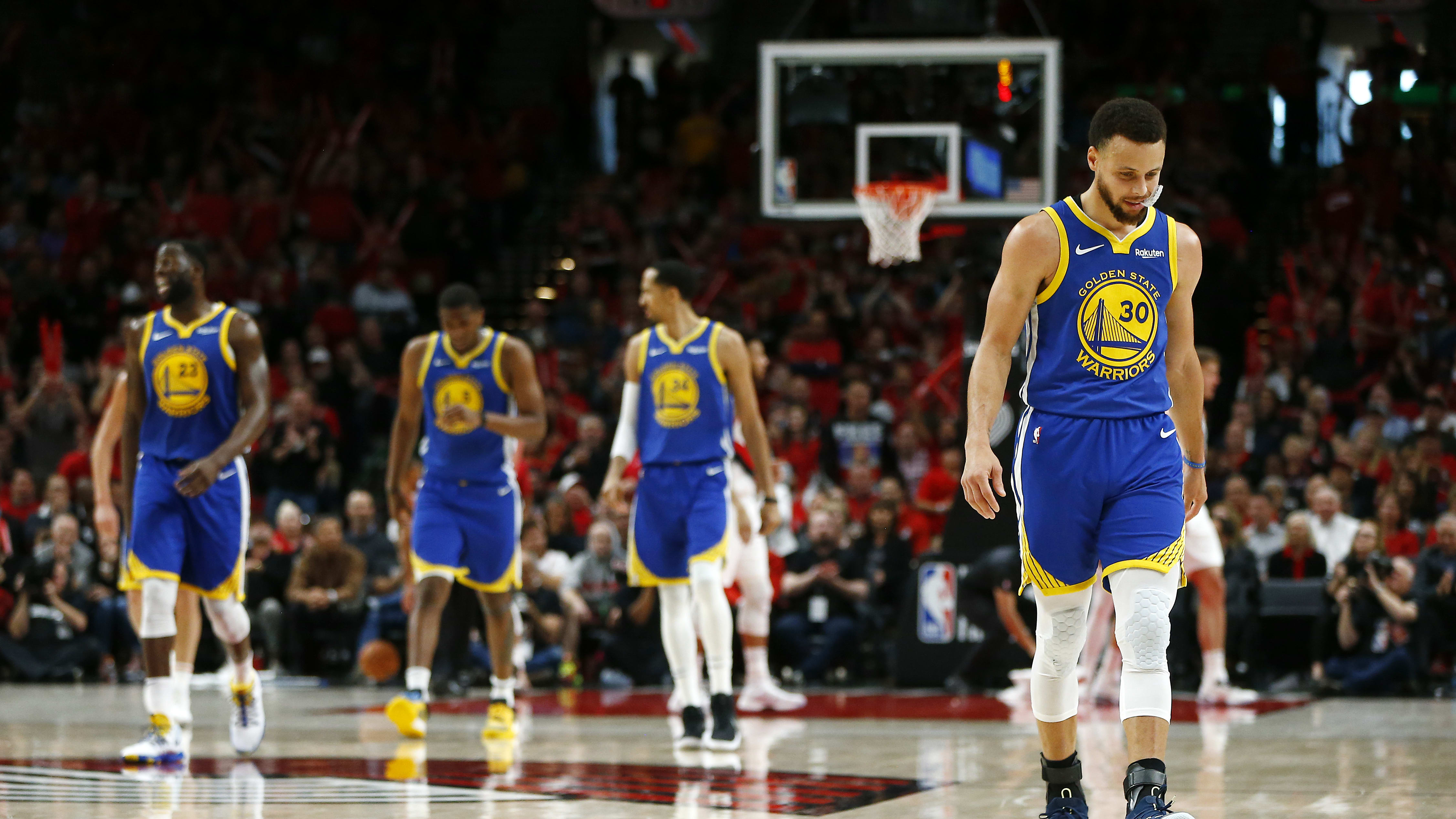 PORTLAND, OREGON - MAY 20: Stephen Curry #30 of the Golden State Warriors reacts during the second half against the Portland Trail Blazers in game four of the NBA Western Conference Finals at Moda Center on May 20, 2019 in Portland, Oregon. NOTE TO USER: User expressly acknowledges and agrees that, by downloading and or using this photograph, User is consenting to the terms and conditions of the Getty Images License Agreement. (Photo by Jonathan Ferrey/Getty Images)