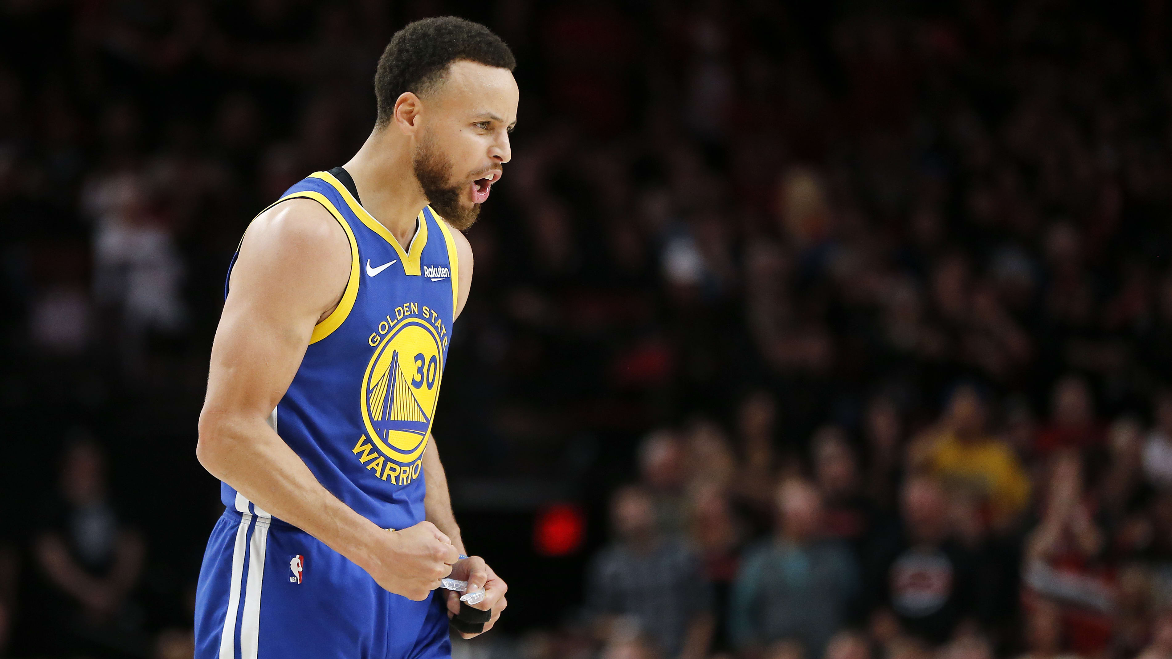 PORTLAND, OREGON - MAY 18: Stephen Curry #30 of the Golden State Warriors reacts during the second half against the Portland Trail Blazers in game three of the NBA Western Conference Finals at Moda Center on May 18, 2019 in Portland, Oregon. NOTE TO USER: User expressly acknowledges and agrees that, by downloading and or using this photograph, User is consenting to the terms and conditions of the Getty Images License Agreement. (Photo by Jonathan Ferrey/Getty Images)