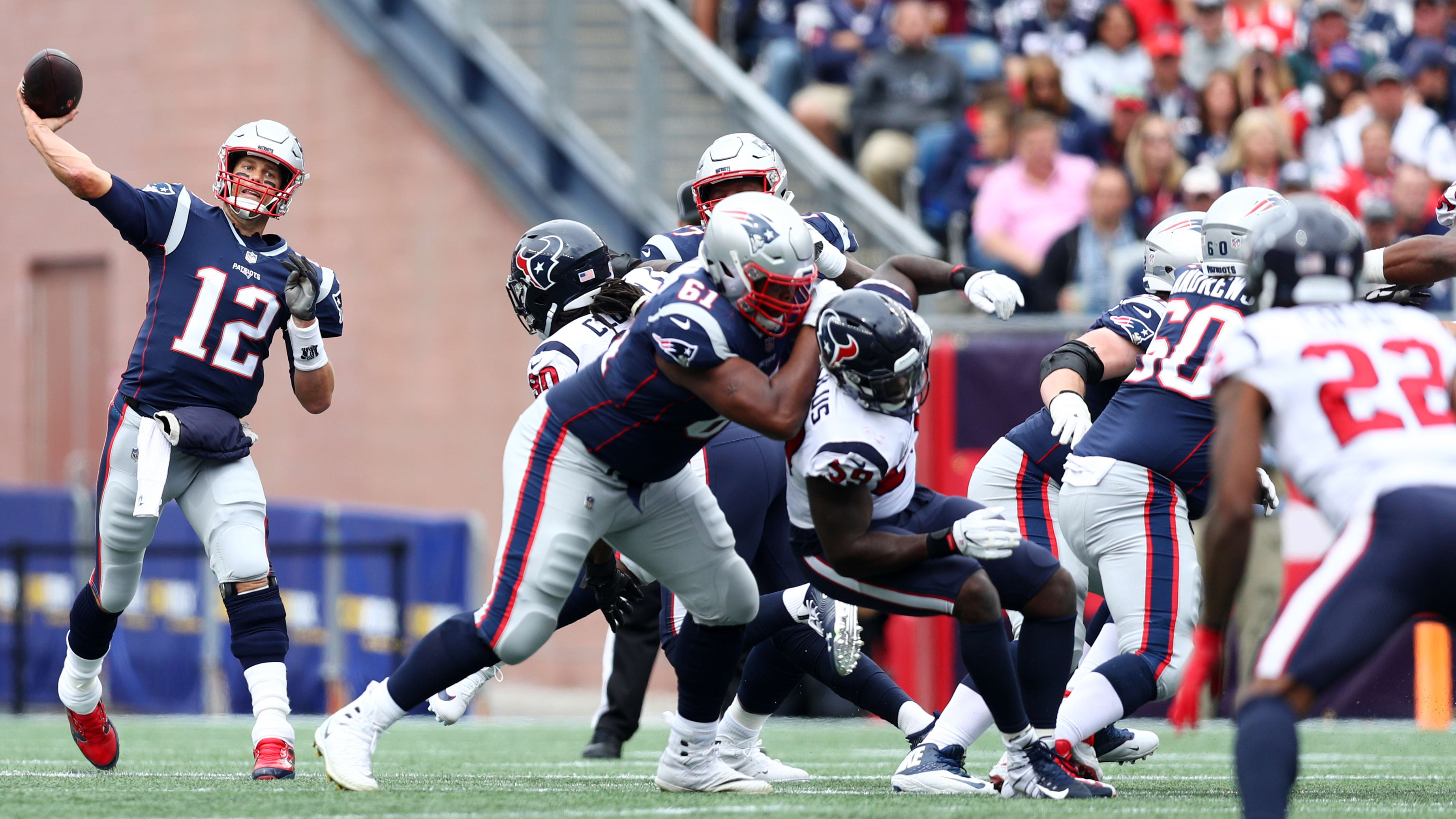 FOXBOROUGH, MA - SEPTEMBER 09: Tom Brady #12 of the New England Patriots makes a pass against the Houston Texans at Gillette Stadium on September 9, 2018 in Foxborough, Massachusetts.(Photo by Maddie Meyer/Getty Images)