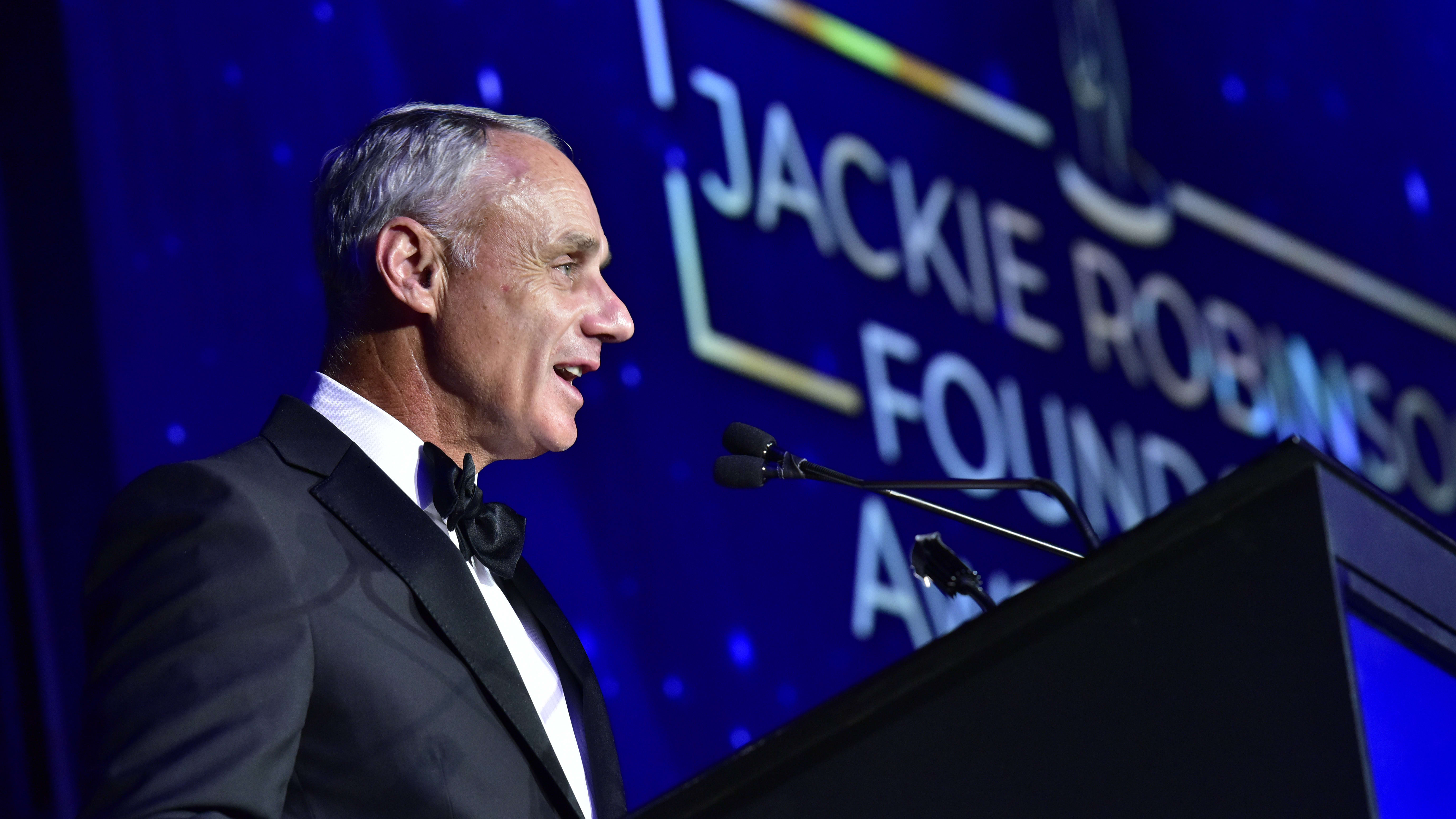 NEW YORK, NY - MARCH 04:  Robert Manfred speaks onstage during the Jackie Robinson Foundation 2019 Annual Awards Dinner on March 4, 2019 in New York City.  (Photo by Eugene Gologursky/Getty Images for Jackie Robinson Foundation)