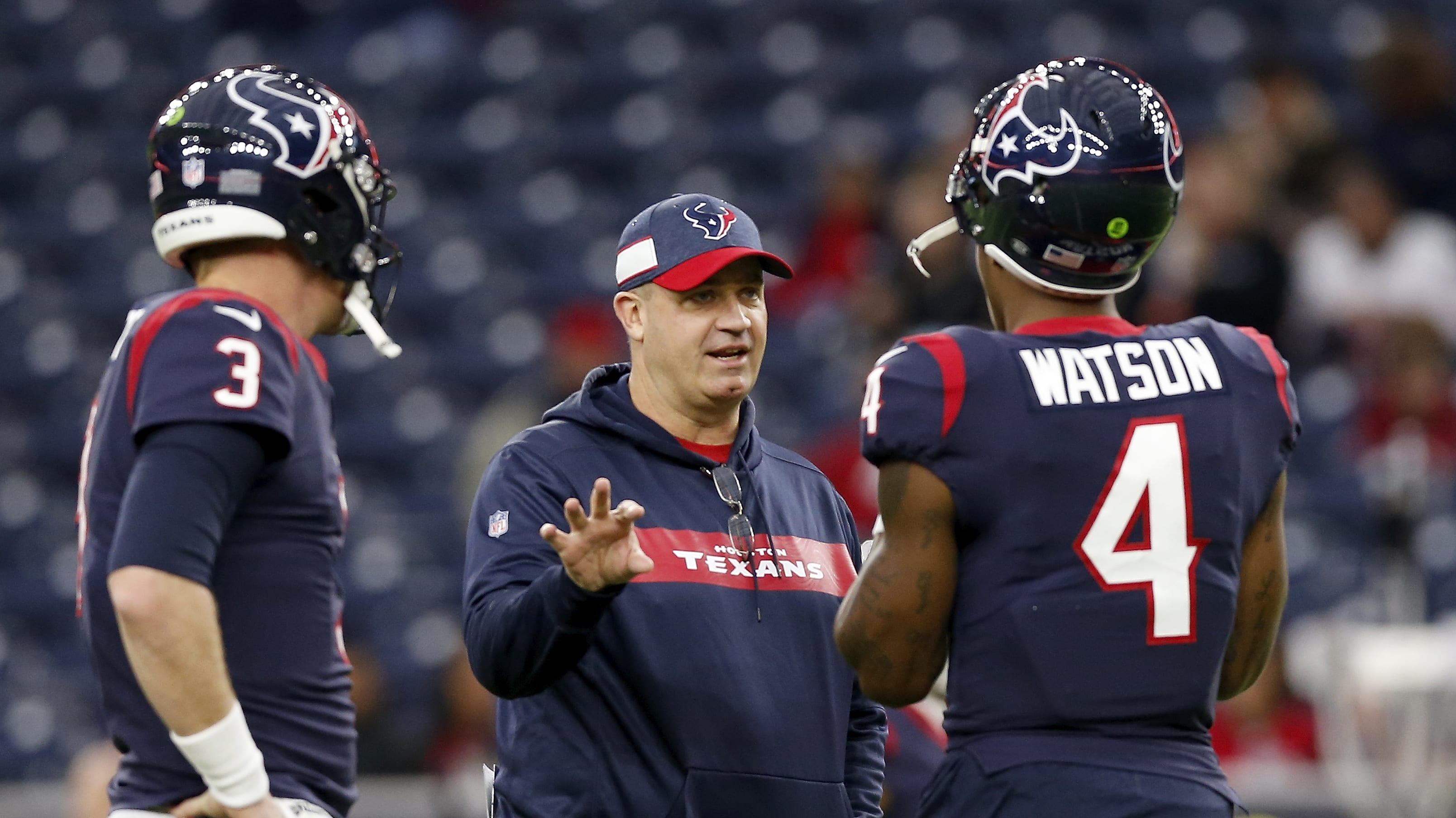 HOUSTON, TX - DECEMBER 30:  Head coach Bill O'Brien of the Houston Texans  talks with Deshaun Watson #4 and Brandon Weeden #3 before the game against the Jacksonville Jaguars at NRG Stadium on December 30, 2018 in Houston, Texas.  (Photo by Tim Warner/Getty Images)