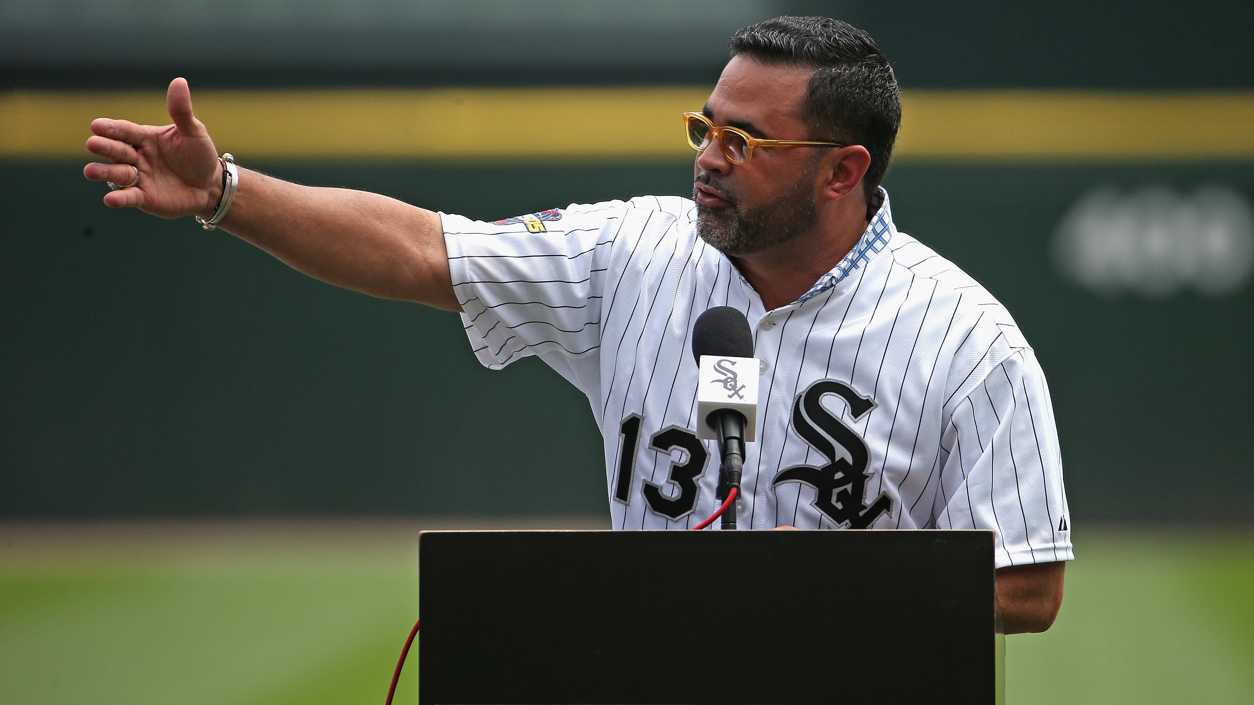 CHICAGO, IL - JULY 18:  Former manager Ozzie Gullien of the Chicago White Sox speaks to the crowd during a ceremony honoring the 10th anniversary of the 2005 World Series Champion Chicago White Sox team before a game against the Kansas City Royals at U.S. Cellular Field on July 18, 2015 in Chicago, Illinois.  (Photo by Jonathan Daniel/Getty Images)