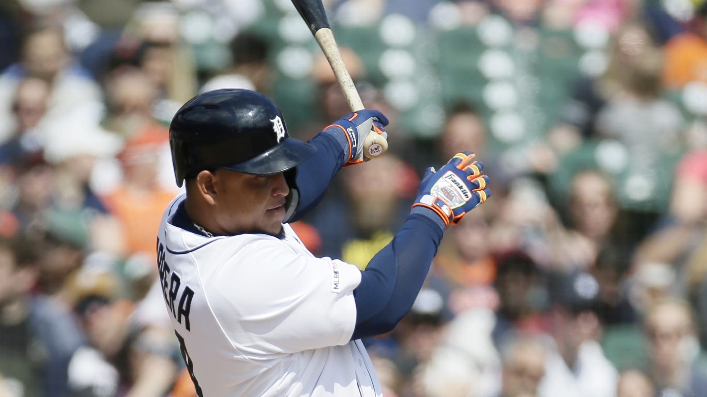 DETROIT, MI - APRIL 6:  Miguel Cabrera #24 of the Detroit Tigers singles to drive in Nicholas Castellanos against the Kansas City Royals during the fifth inning at Comerica Park on April 6, 2019 in Detroit, Michigan. (Photo by Duane Burleson/Getty Images)