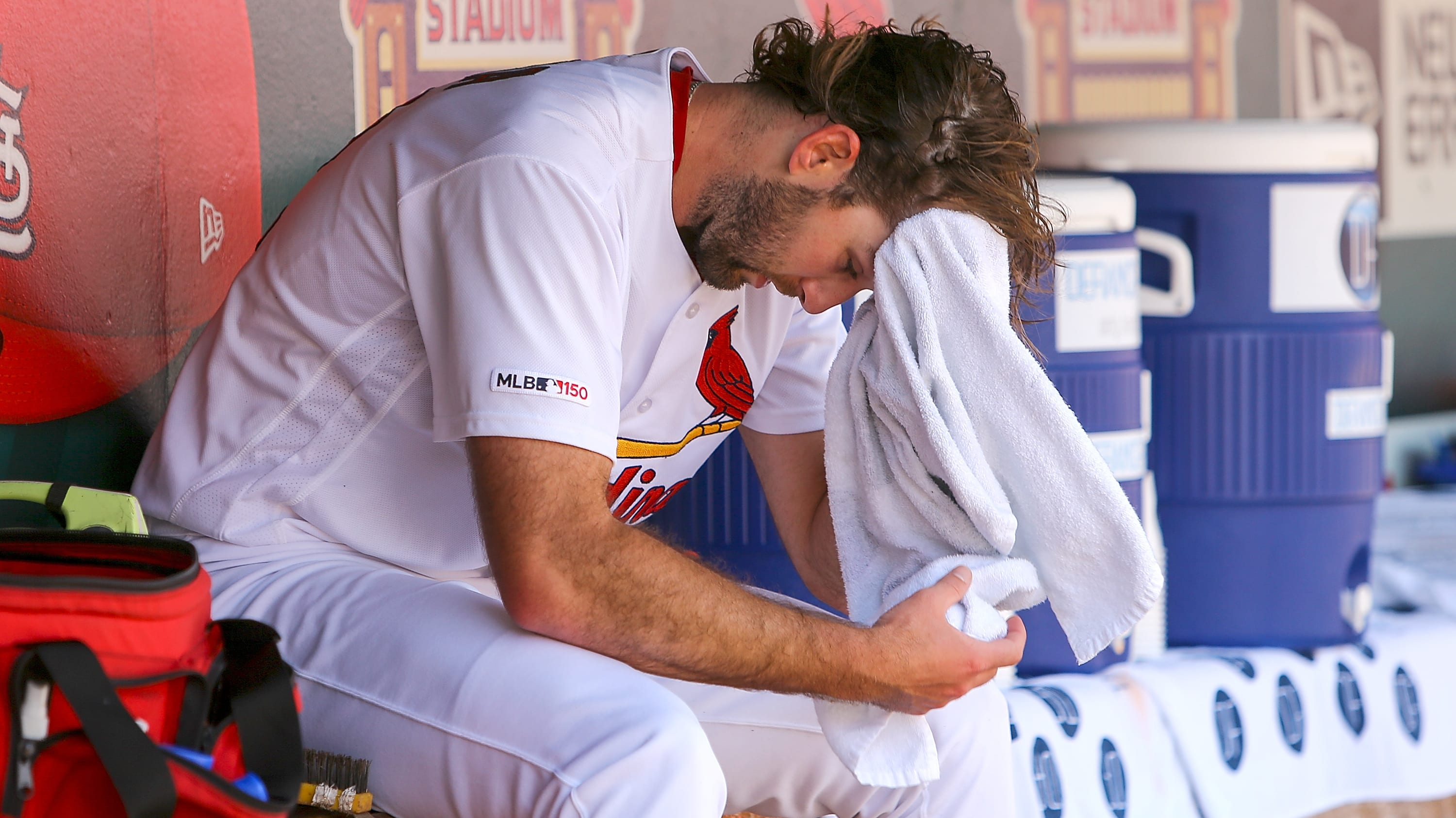 ST. LOUIS, MO - MAY 22: Michael Wacha #52 of the St. Louis Cardinals sits in the dugout after pitching the in the fourth inning during Game One of a double headeragainst the Kansas City Royals at Busch Stadium on May 22, 2019 in St. Louis, Missouri. (Photo by Scott Kane/Getty Images)