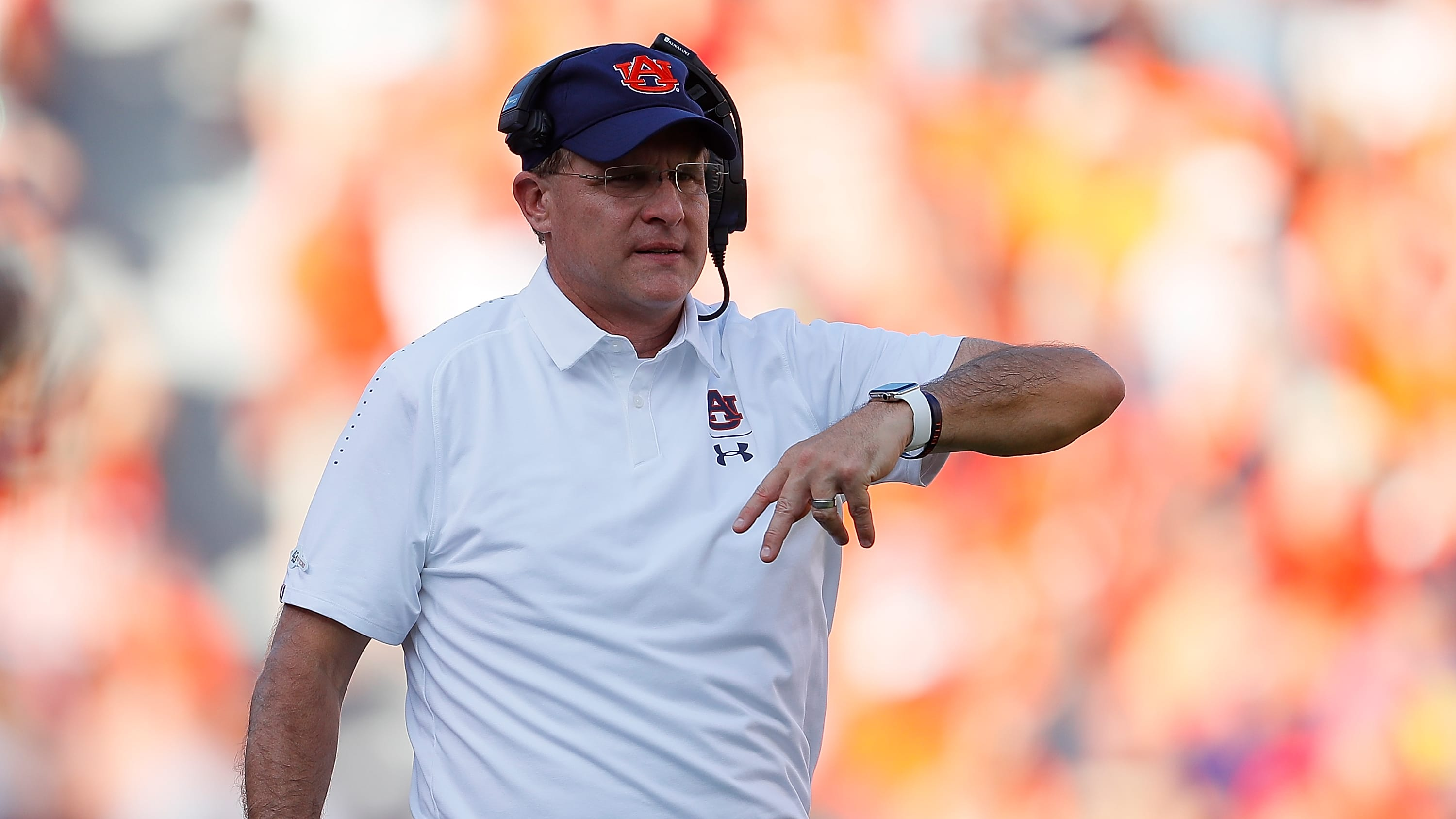 AUBURN, AL - SEPTEMBER 15:  Head coach Gus Malzahn of the Auburn Tigers looks on during the game against the LSU Tigers at Jordan-Hare Stadium on September 15, 2018 in Auburn, Alabama.  (Photo by Kevin C. Cox/Getty Images)