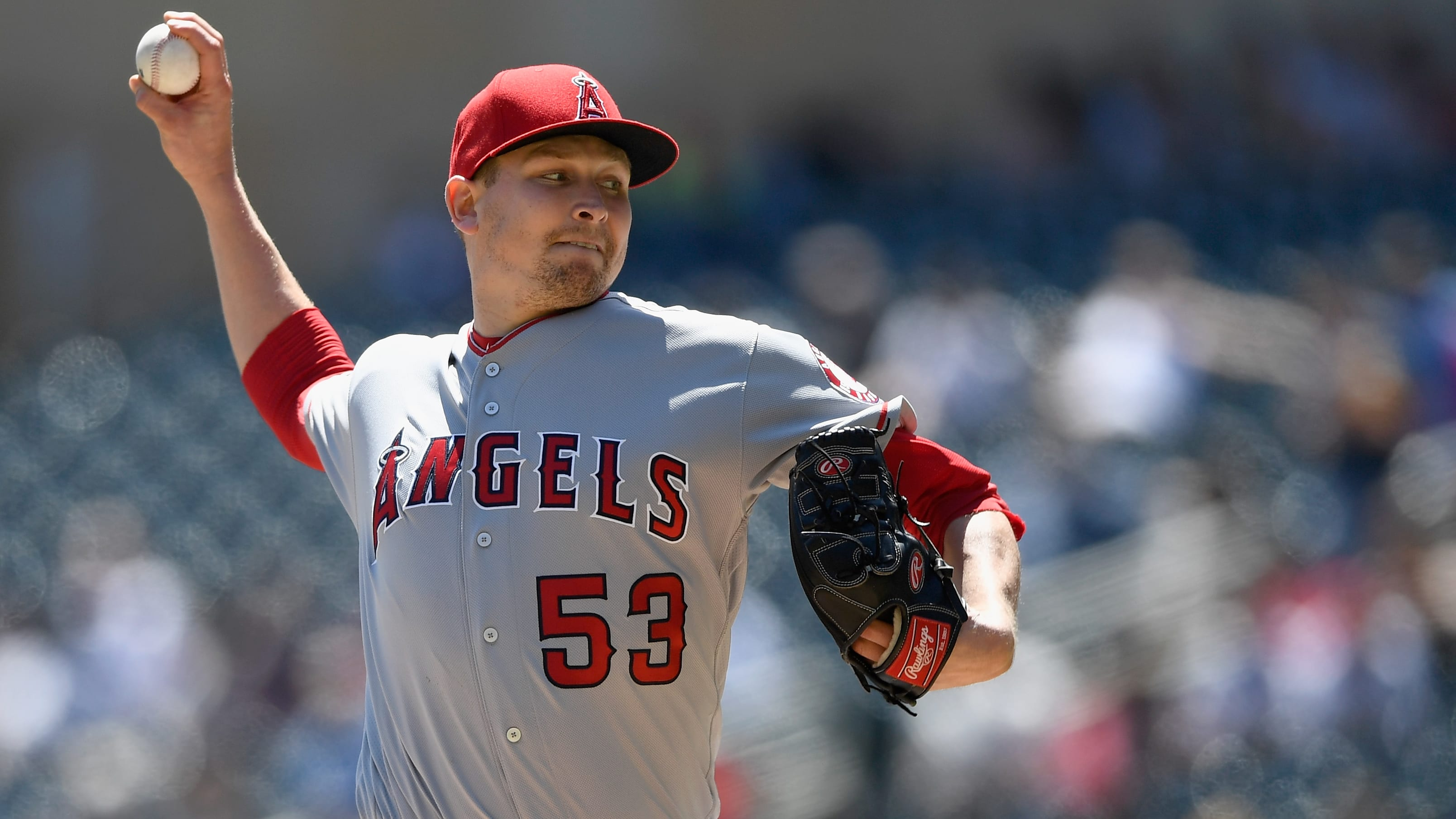 MINNEAPOLIS, MN - MAY 15: Trevor Cahill #53 of the Los Angeles Angels delivers a pitch against the Minnesota Twins during the first inning of the game on May 15, 2019 at Target Field in Minneapolis, Minnesota. (Photo by Hannah Foslien/Getty Images)