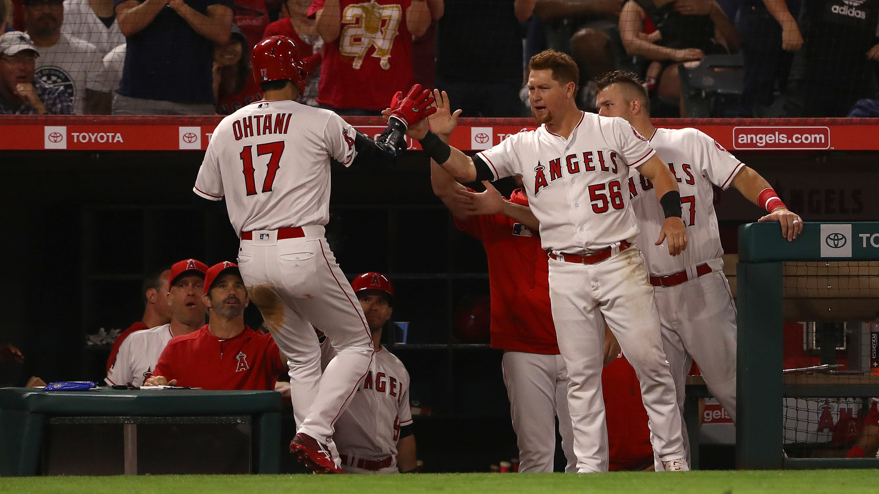 ANAHEIM, CALIFORNIA - JUNE 10: Shohei Ohtani #17 of the Los Angeles Angels is congratulated by teammates Kole Calhoun #56 and Mike Trout #27 at the dugout after Ohtani scored in the eighth inning of the MLB game against the Los Angeles Dodgers at Angel Stadium of Anaheim on June 10, 2019 in Anaheim, California. (Photo by Victor Decolongon/Getty Images)