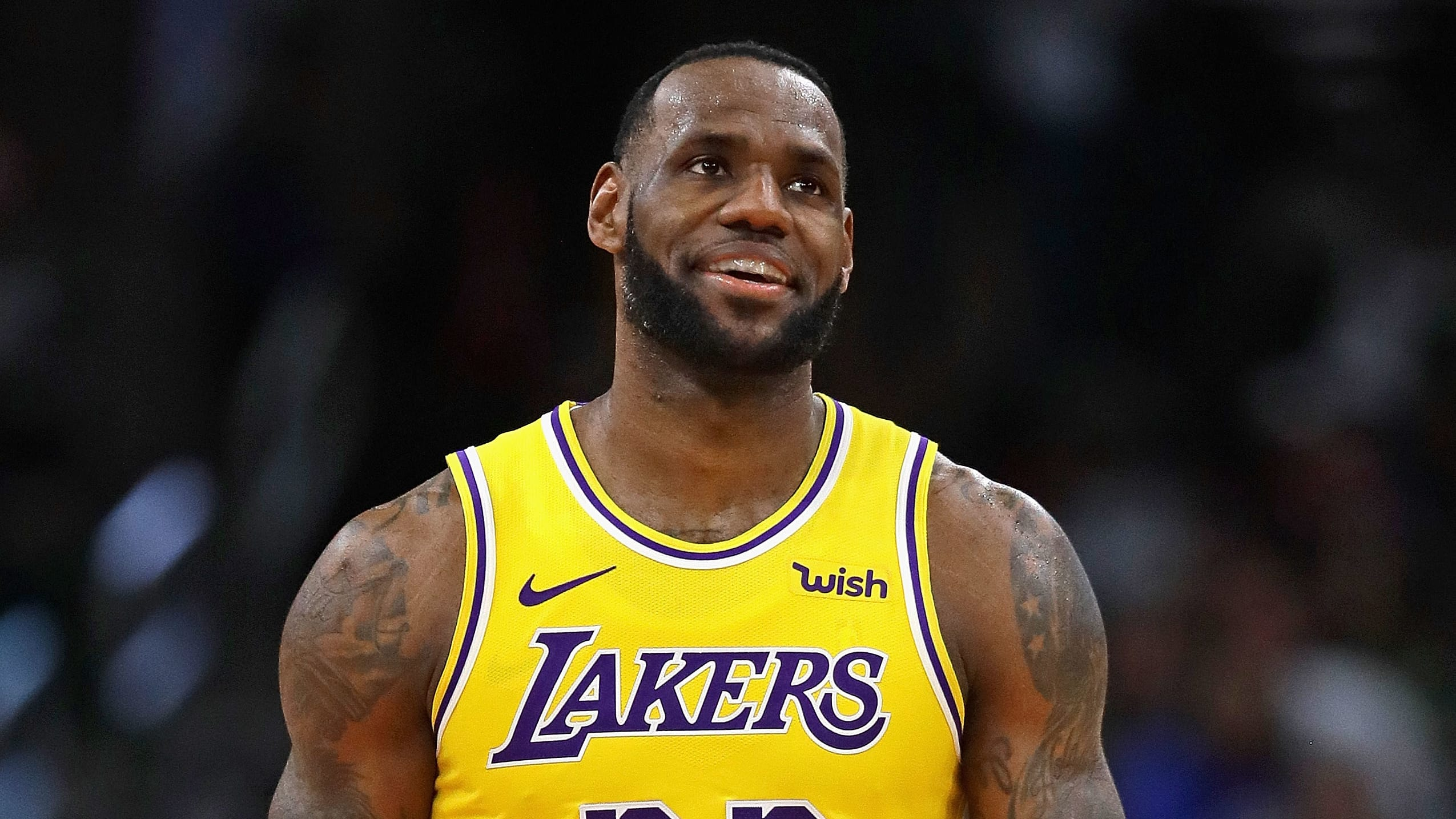 CHICAGO, ILLINOIS - MARCH 12: LeBron James #23 of the Los Angeles Lakers smiles after a play against the Chicago Bulls at the United Center on March 12, 2019 in Chicago, Illinois. The Lakers defeated the Bulls 123-107. NOTE TO USER: User expressly acknowledges and agrees that, by downloading and or using this photograph, User is consenting to the terms and conditions of the Getty Images License Agreement. (Photo by Jonathan Daniel/Getty Images)