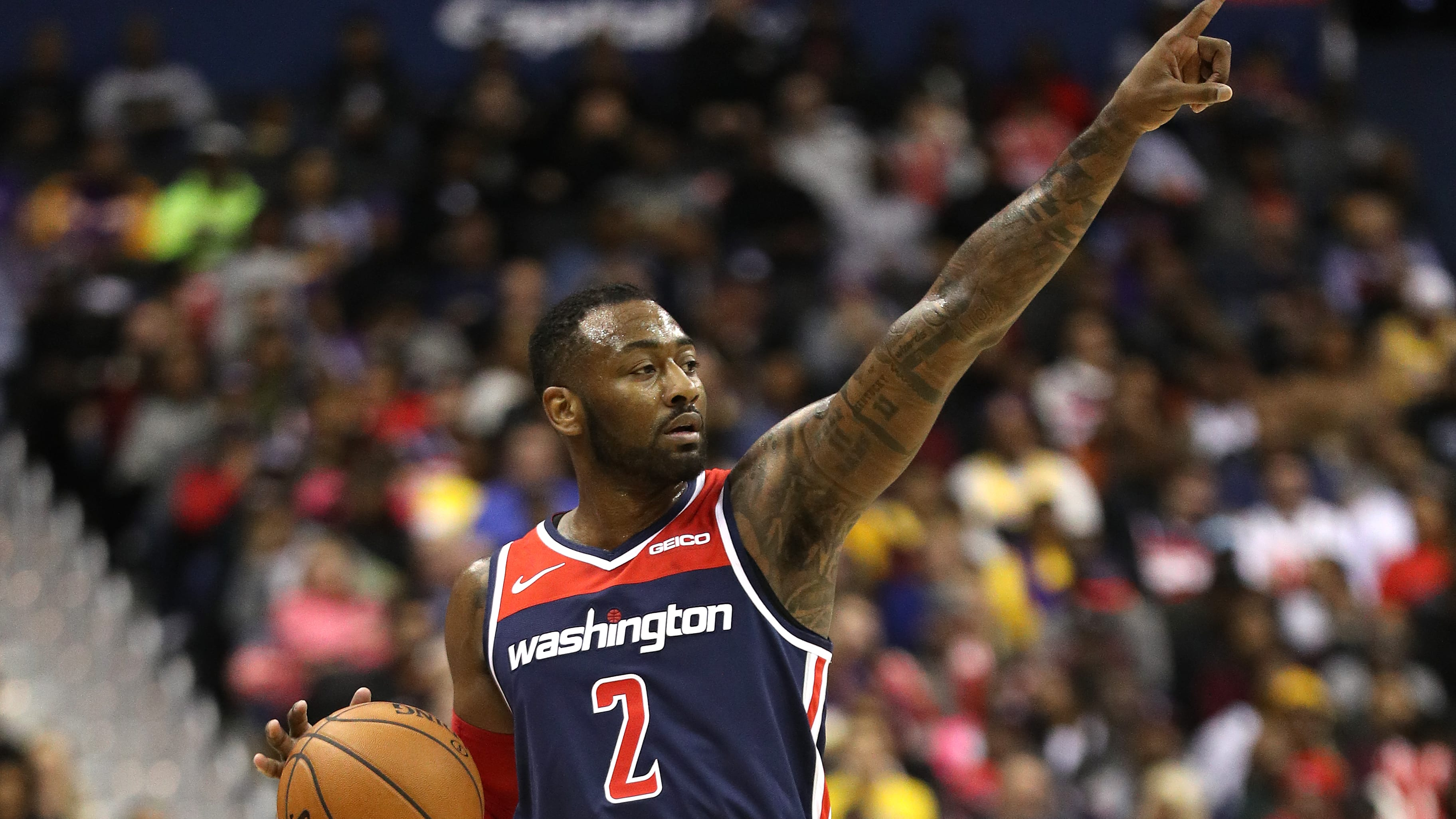 WASHINGTON, DC - DECEMBER 16: John Wall #2 of the Washington Wizards in action against the Los Angeles Lakers at Capital One Arena on December 16, 2018 in Washington, DC. NOTE TO USER: User expressly acknowledges and agrees that, by downloading and or using this photograph, User is consenting to the terms and conditions of the Getty Images License Agreement. (Photo by Patrick Smith/Getty Images)