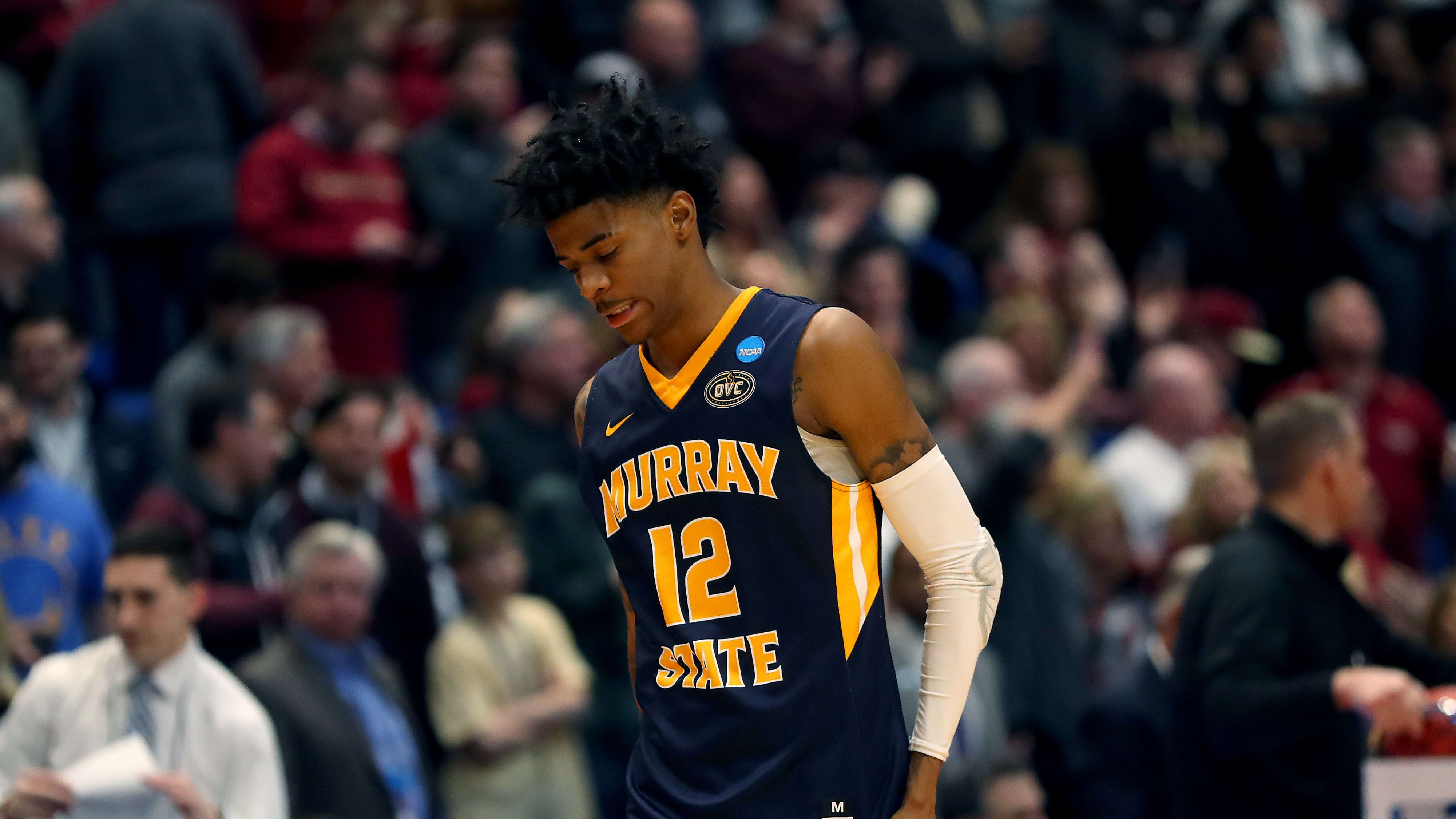 HARTFORD, CONNECTICUT - MARCH 23:  Ja Morant #12 of the Murray State Racers reacts late in the game of his teams loss to the Florida State Seminoles during the second round of the 2019 NCAA Men's Basketball Tournament at XL Center on March 23, 2019 in Hartford, Connecticut. (Photo by Maddie Meyer/Getty Images)