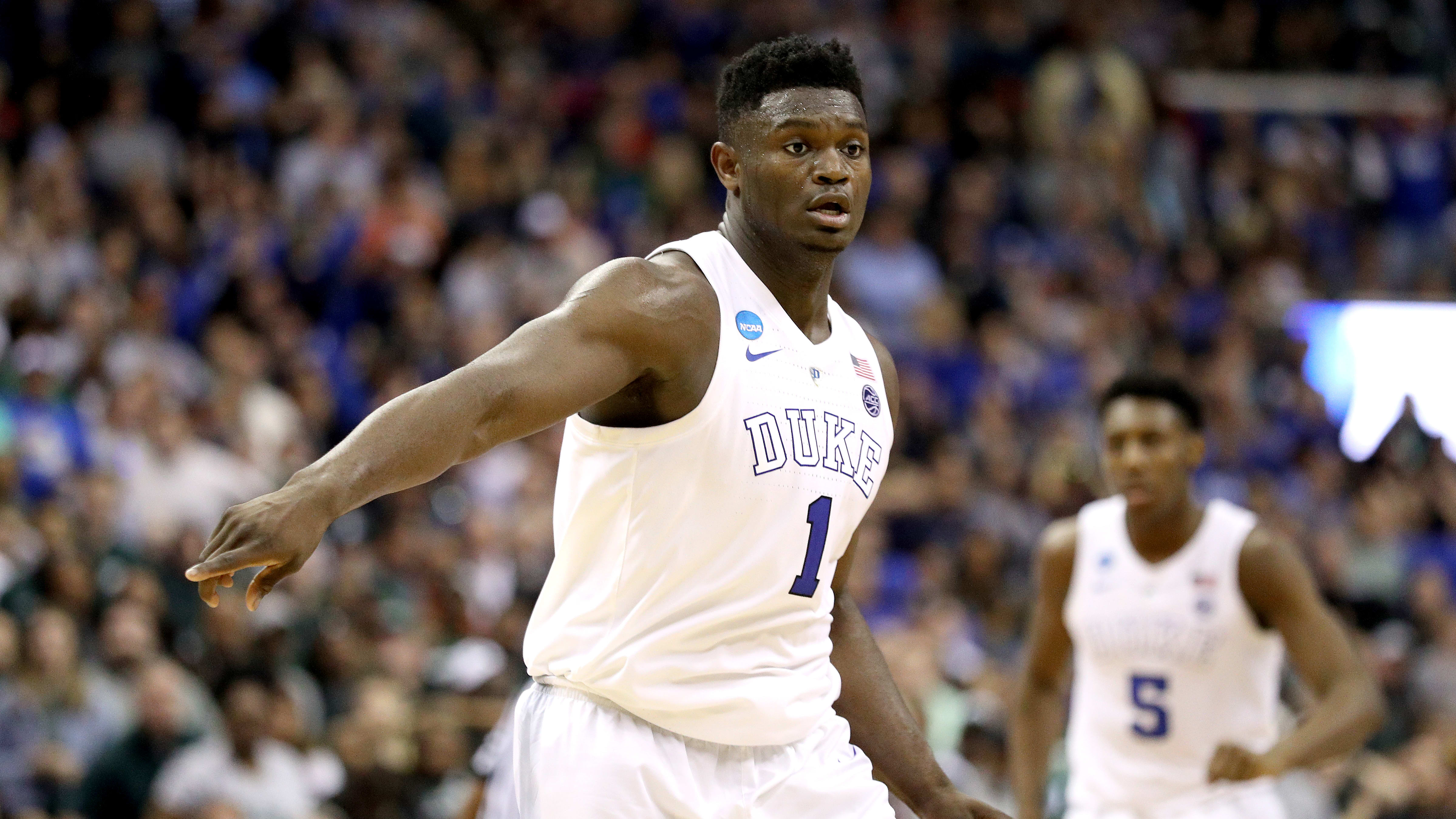 WASHINGTON, DC - MARCH 31:  Zion Williamson #1 of the Duke Blue Devils reacts against the Michigan State Spartans during the second half in the East Regional game of the 2019 NCAA Men's Basketball Tournament at Capital One Arena on March 31, 2019 in Washington, DC. (Photo by Patrick Smith/Getty Images)