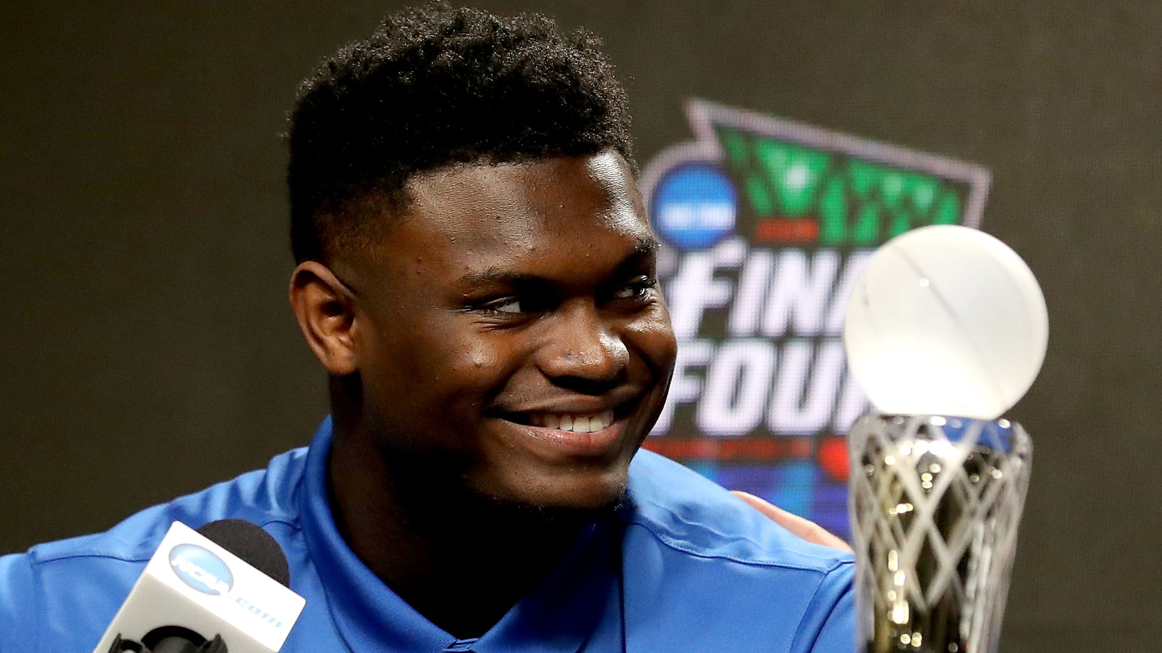 MINNEAPOLIS, MINNESOTA - APRIL 05: Zion Williamson of the Duke Blue Devils speaks during a press conference after being awarded the AP Player of the Year award prior to the 2019 NCAA men's Final Four at U.S. Bank Stadium on April 5, 2019 in Minneapolis, Minnesota. (Photo by Maxx Wolfson/Getty Images)
