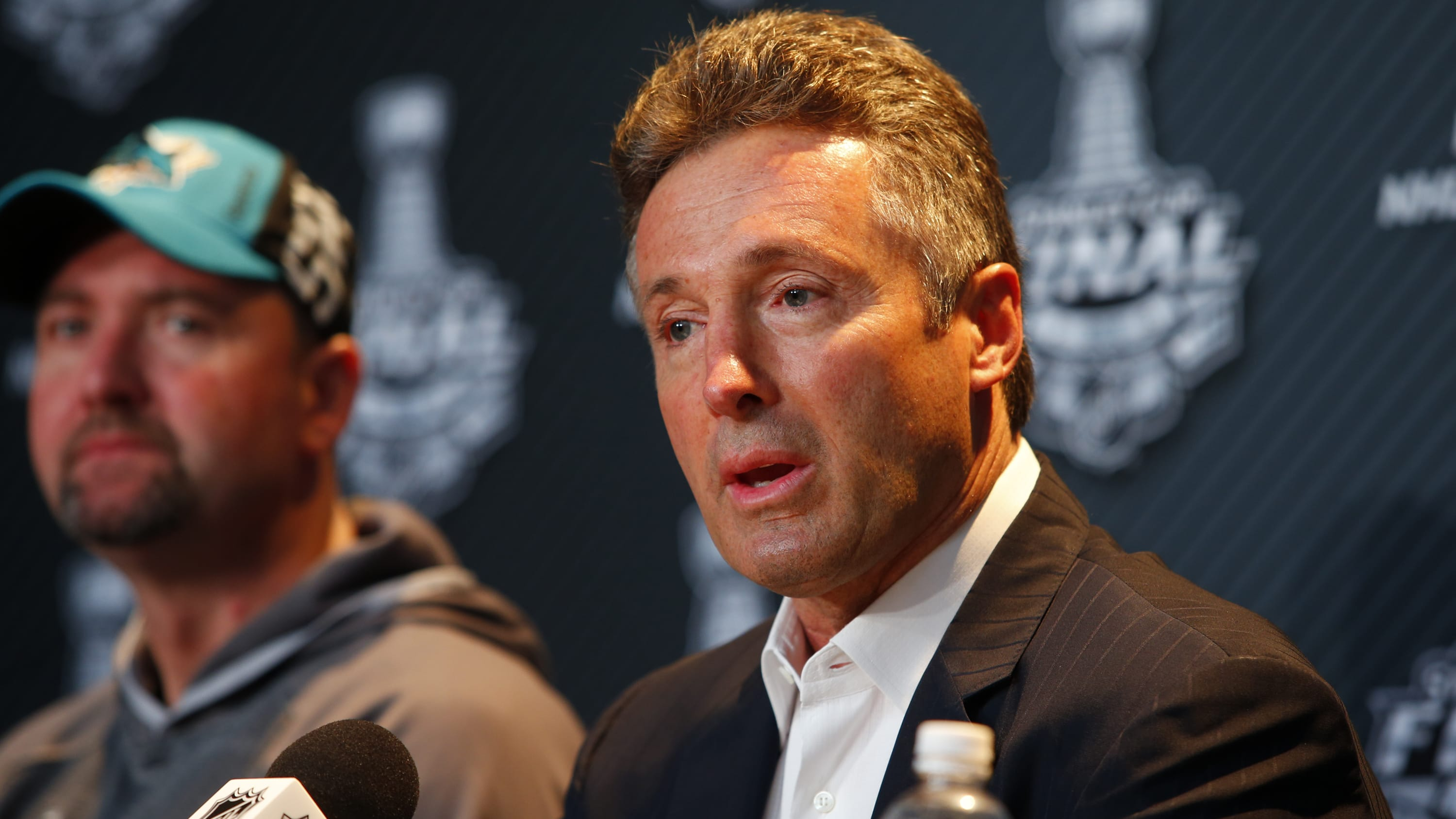 PITTSBURGH, PA - MAY 29: General manager Doug Wilson of the San Jose Sharks addresses the media during the NHL Stanley Cup Final Media Day at Consol Energy Center on May 29, 2016 in Pittsburgh, Pennsylvania. (Photo by Justin K. Aller/Getty Images)