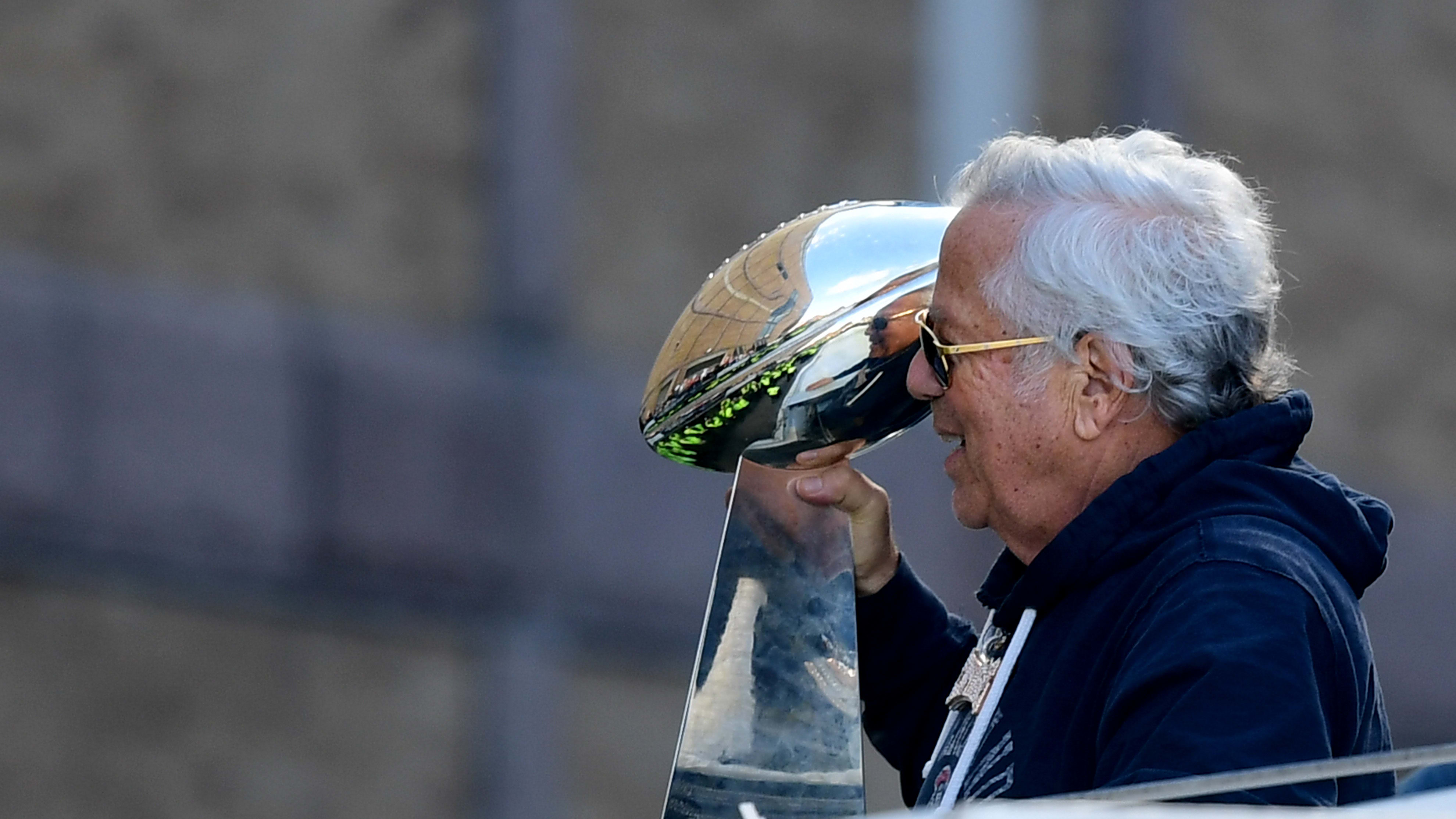 BOSTON, MASSACHUSETTS - FEBRUARY 05: Owner Robert Kraft of the New England Patriots displays the Vince Lombardi trophy during the Super Bowl Victory Parade on February 05, 2019 in Boston, Massachusetts. (Photo by Billie Weiss/Getty Images)