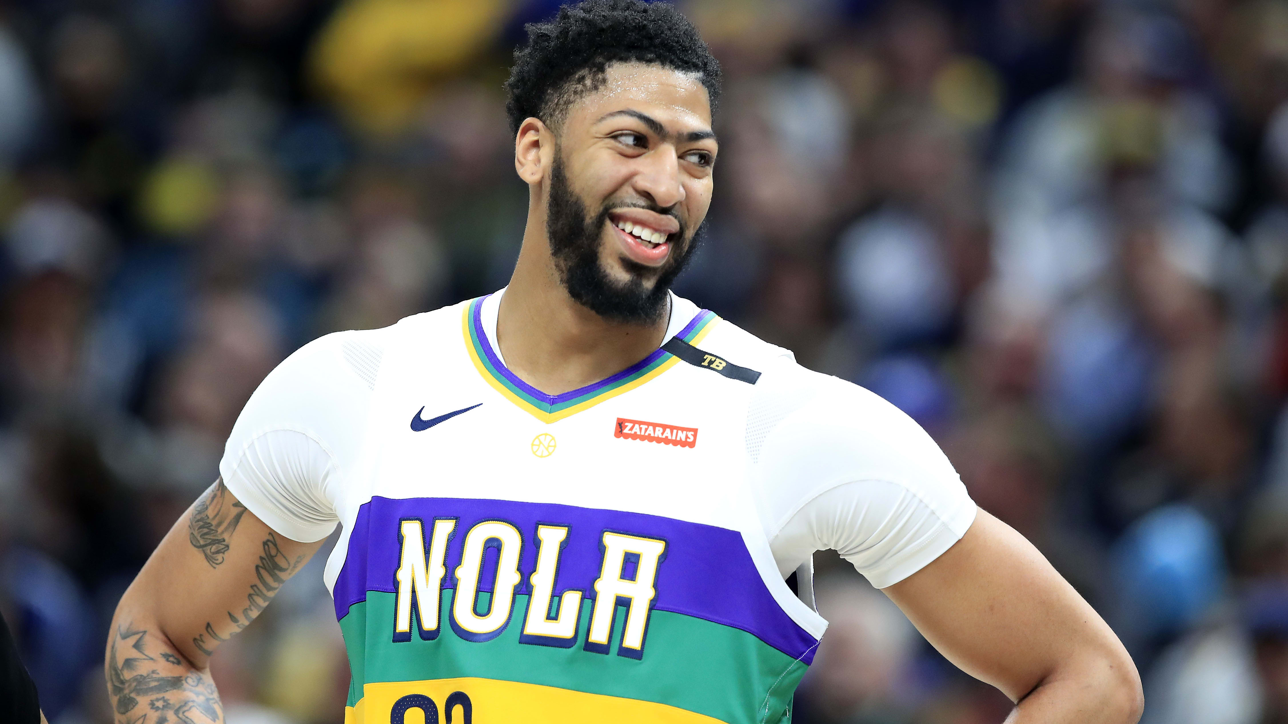INDIANAPOLIS, INDIANA - FEBRUARY 22:   Anthony Davis #23 of the New Orleans Pelicans watches the action against the Indiana Pacers at Bankers Life Fieldhouse on February 22, 2019 in Indianapolis, Indiana. (Photo by Andy Lyons/Getty Images)