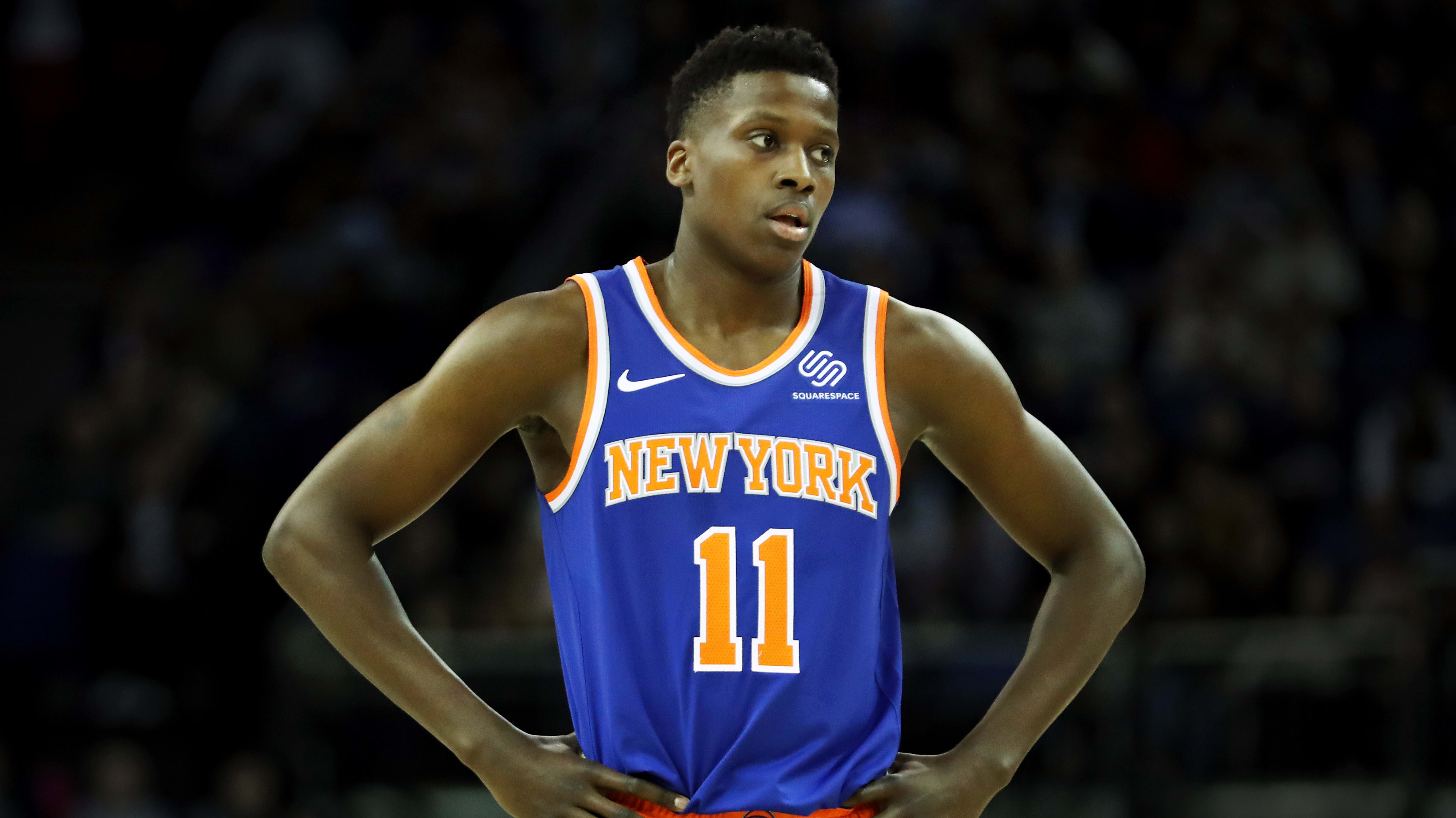 LONDON, ENGLAND - JANUARY 17:  Frank Ntilikina of The New York Knicks looks on during the NBA London game 2019 between Washington Wizards and New York Knicks at The O2 Arena on January 17, 2019 in London, England.  (Photo by Naomi Baker/Getty Images)