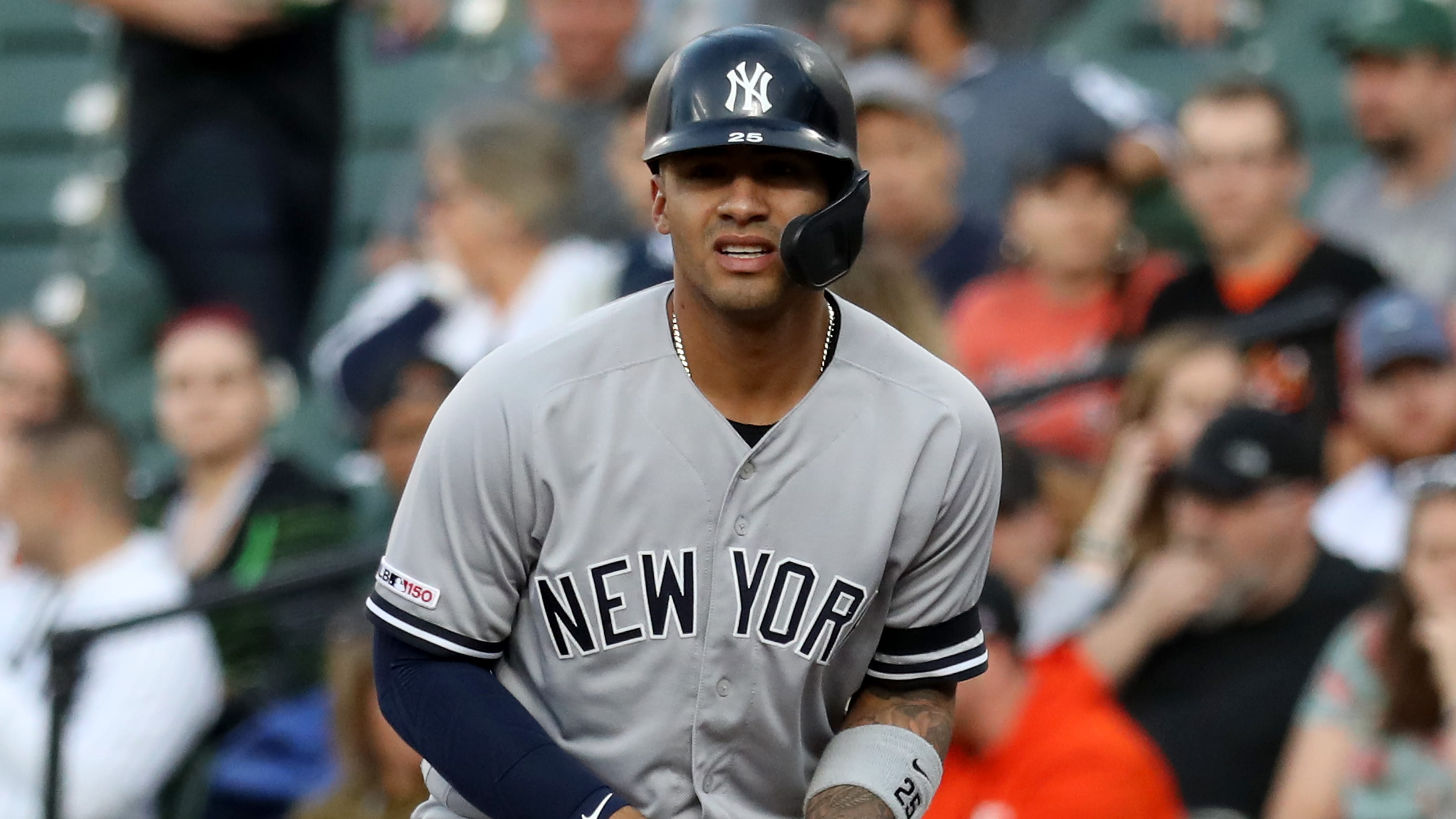 BALTIMORE, MARYLAND - MAY 21: Gleyber Torres #25 of the New York Yankees leads off of first base against the Baltimore Orioles at Oriole Park at Camden Yards on May 21, 2019 in Baltimore, Maryland. (Photo by Rob Carr/Getty Images)