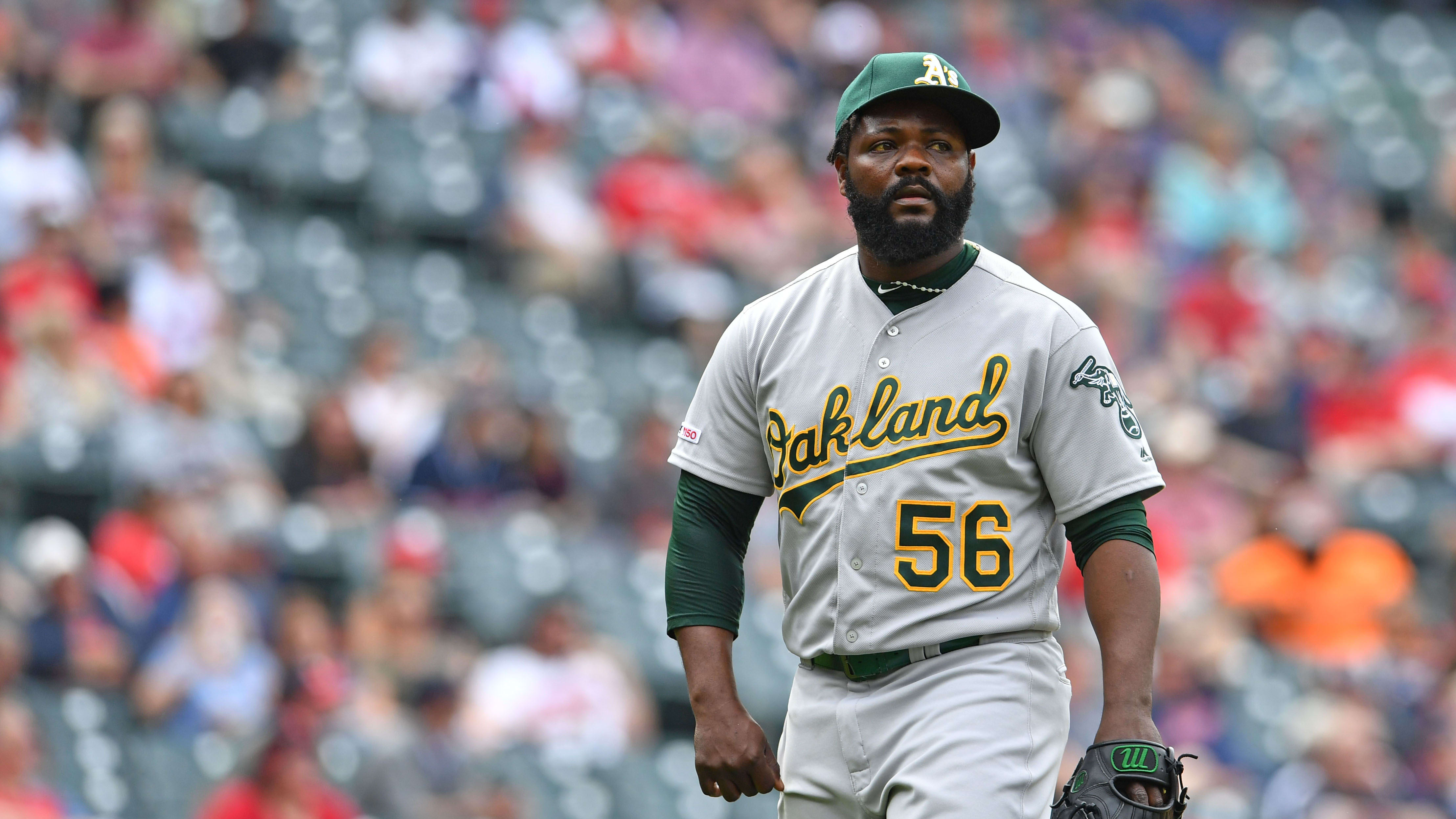 CLEVELAND, OHIO - MAY 22: Relief pitcher Fernando Rodney #56 of the Oakland Athletics leaves the game after giving up a two run home run during the eighth inning against the Cleveland Indians at Progressive Field on May 22, 2019 in Cleveland, Ohio. (Photo by Jason Miller/Getty Images)