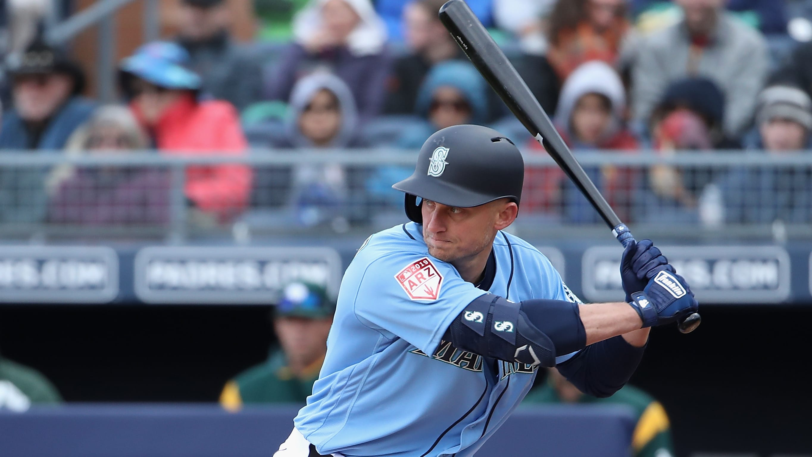 PEORIA, ARIZONA - FEBRUARY 22:  Kyle Seager #15 of the Seattle Mariners bats against the Oakland Athletics during the MLB spring training game at Peoria Stadium on February 22, 2019 in Peoria, Arizona. (Photo by Christian Petersen/Getty Images)