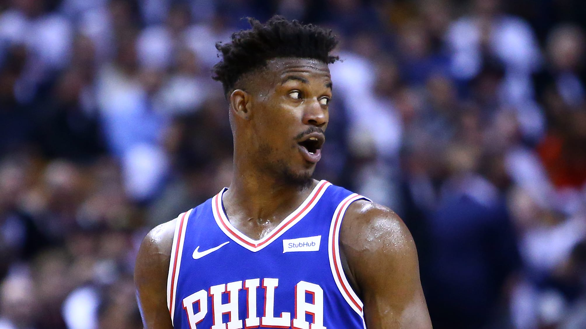 TORONTO, ON - MAY 07:  Jimmy Butler #23 of the Philadelphia 76ers reacts during Game Five of the second round of the 2019 NBA Playoffs against the Toronto Raptors at Scotiabank Arena on May 7, 2019 in Toronto, Canada.  NOTE TO USER: User expressly acknowledges and agrees that, by downloading and or using this photograph, User is consenting to the terms and conditions of the Getty Images License Agreement.  (Photo by Vaughn Ridley/Getty Images)