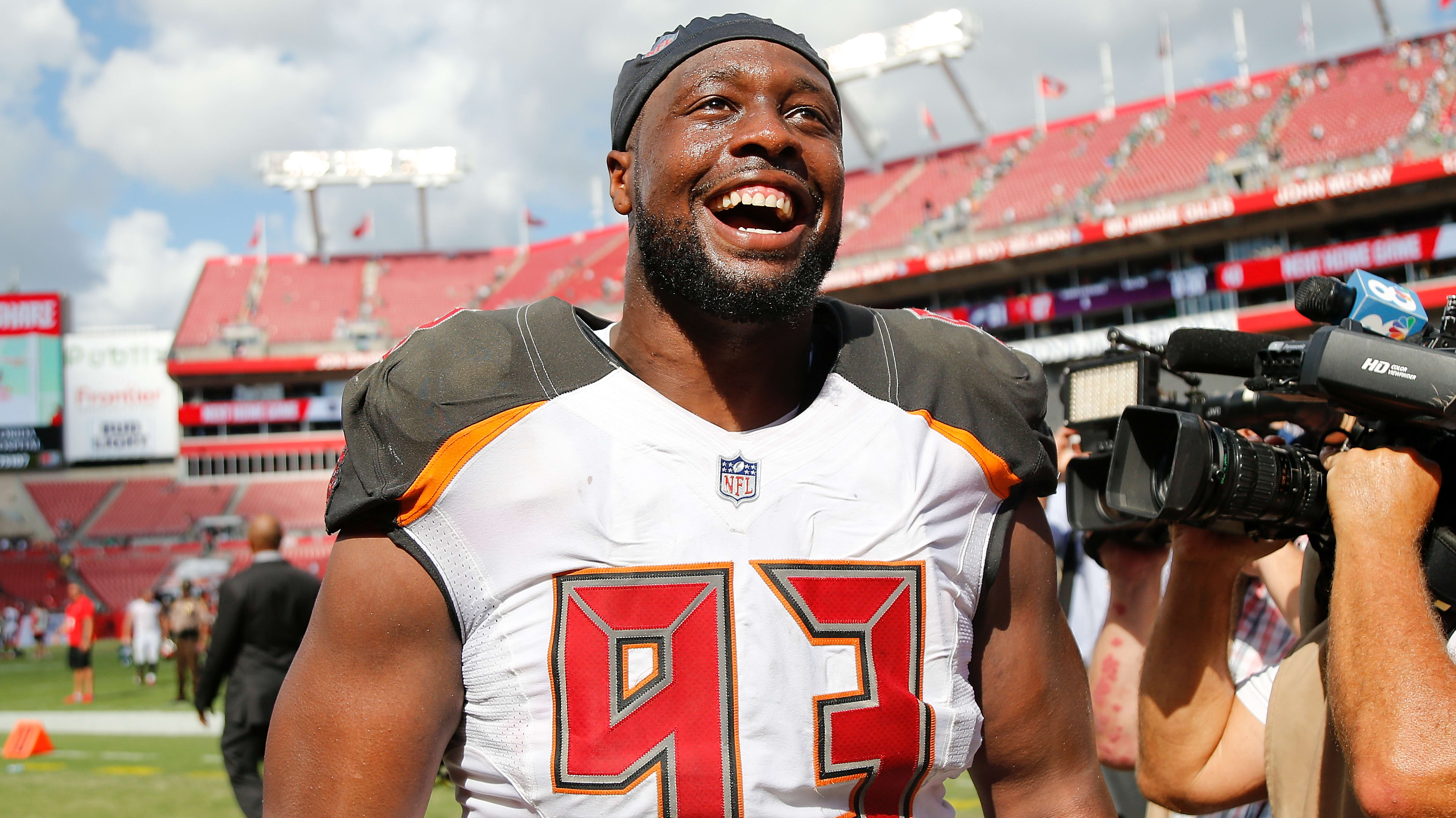 TAMPA, FL - SEPTEMBER 16:  Gerald McCoy #93 of the Tampa Bay Buccaneers reacts after they defeated the Philadelphia Eagles 27-21 at Raymond James Stadium on September 16, 2018 in Tampa, Florida.  (Photo by Michael Reaves/Getty Images)