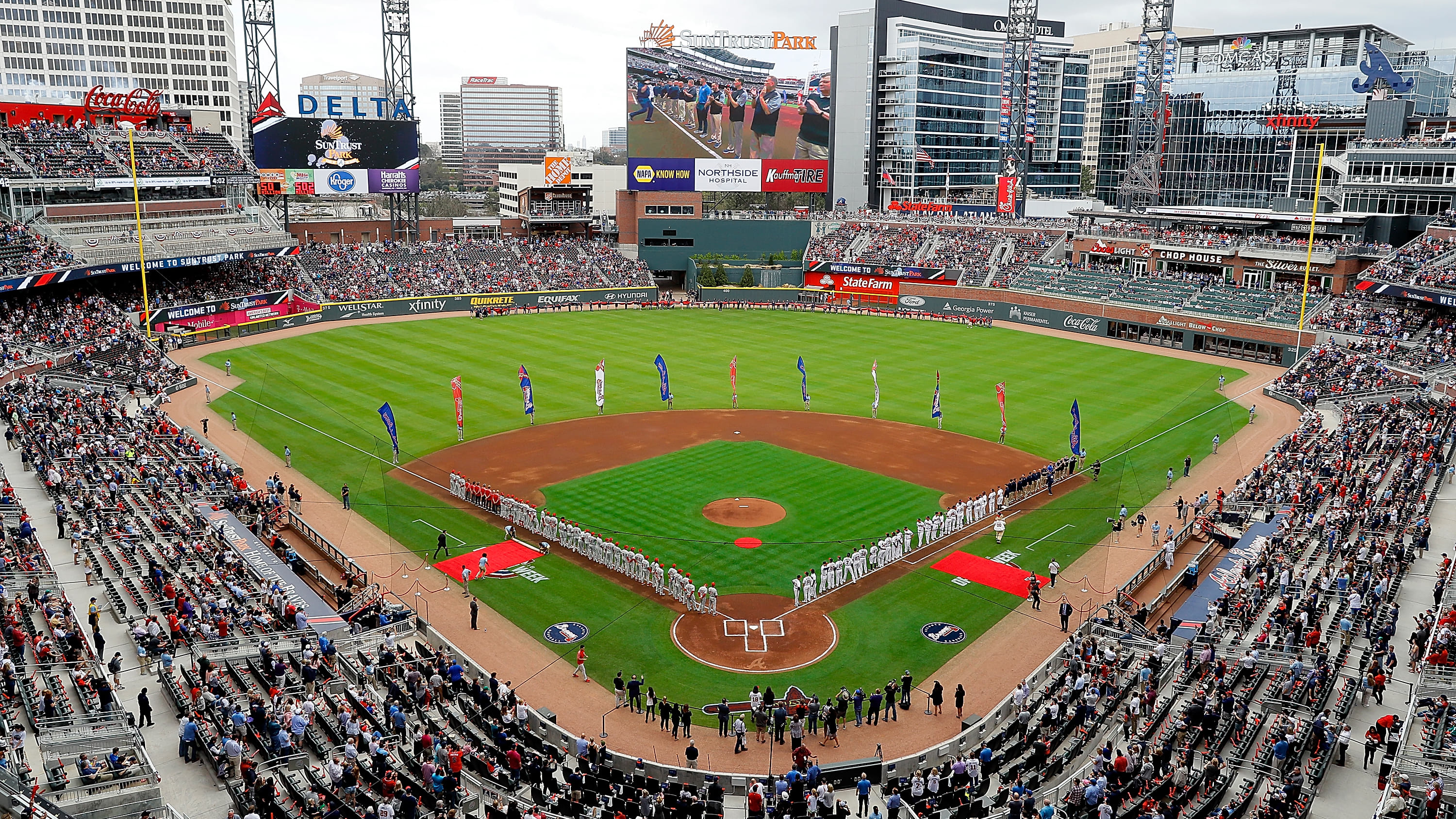ATLANTA, GA - MARCH 29:  A general view of SunTrust Park prior to the game between the Atlanta Braves and the Philadelphia Phillies on March 29, 2018 in Atlanta, Georgia.  (Photo by Kevin C. Cox/Getty Images)