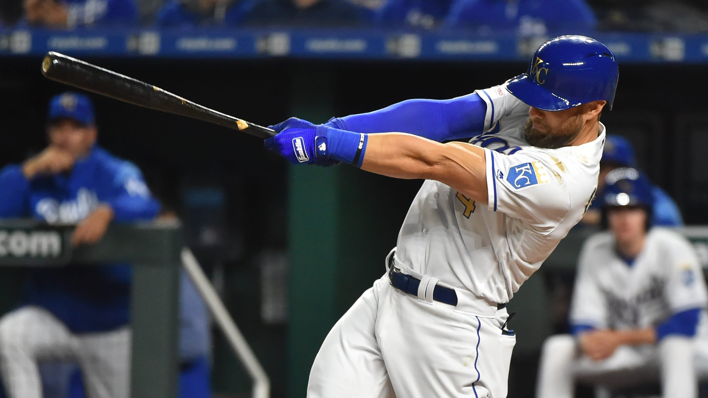 KANSAS CITY, MISSOURI - MAY 10: Alex Gordon #4 of the Kansas City Royals hits a home run in the fifth inning against the Philadelphia Phillies at Kauffman Stadium on May 10, 2019 in Kansas City, Missouri. It was Gordon's 1500th career hit.  (Photo by Ed Zurga/Getty Images)