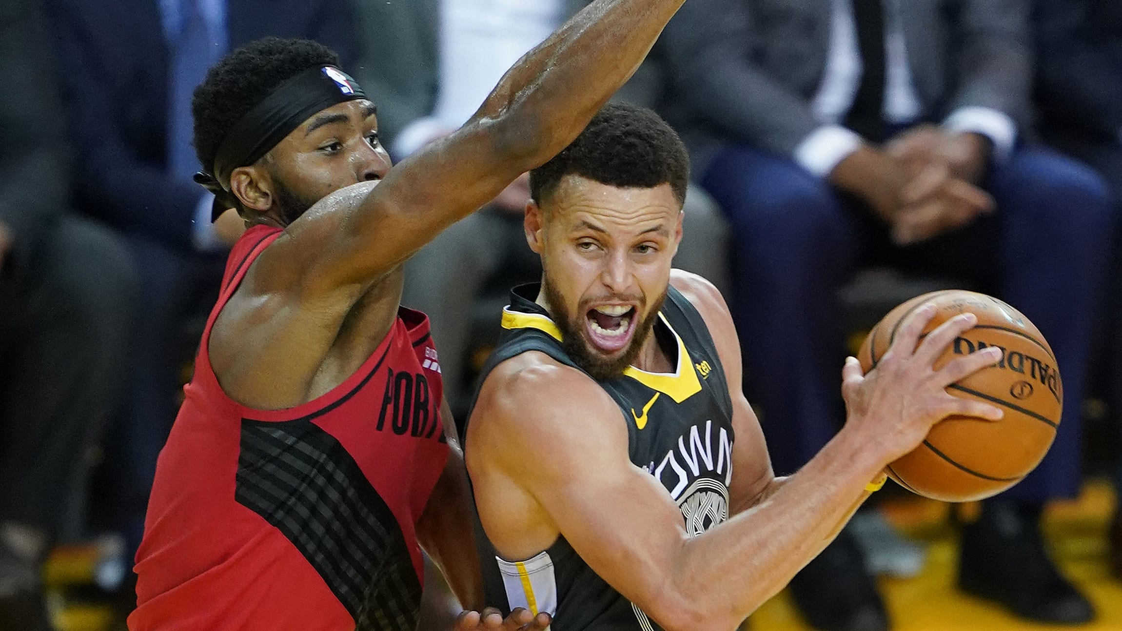 OAKLAND, CALIFORNIA - MAY 16: Stephen Curry #30 of the Golden State Warriors goes up for a shot against the Portland Trail Blazers in game two of the NBA Western Conference Finals at ORACLE Arena on May 16, 2019 in Oakland, California. NOTE TO USER: User expressly acknowledges and agrees that, by downloading and or using this photograph, User is consenting to the terms and conditions of the Getty Images License Agreement. (Photo by Thearon W. Henderson/Getty Images)