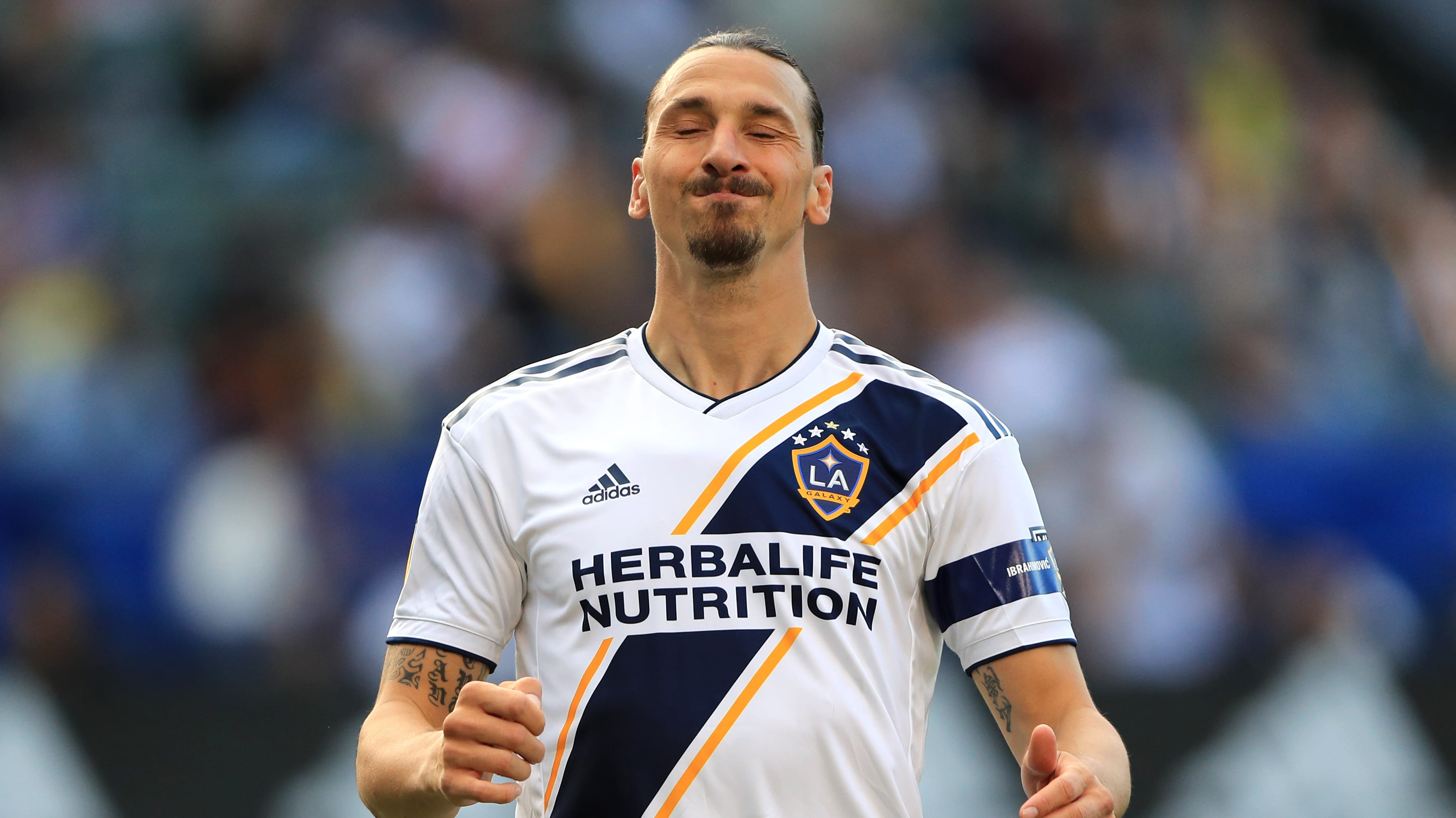 CARSON, CALIFORNIA - APRIL 28:  Zlatan Ibrahimovic #9 of Los Angeles Galaxy looks during the first half of a game against the Real Salt Lake at Dignity Health Sports Park on April 28, 2019 in Carson, California. Los Angeles Galaxy defeated Real Salt Lake 2-1.  (Photo by Sean M. Haffey/Getty Images)