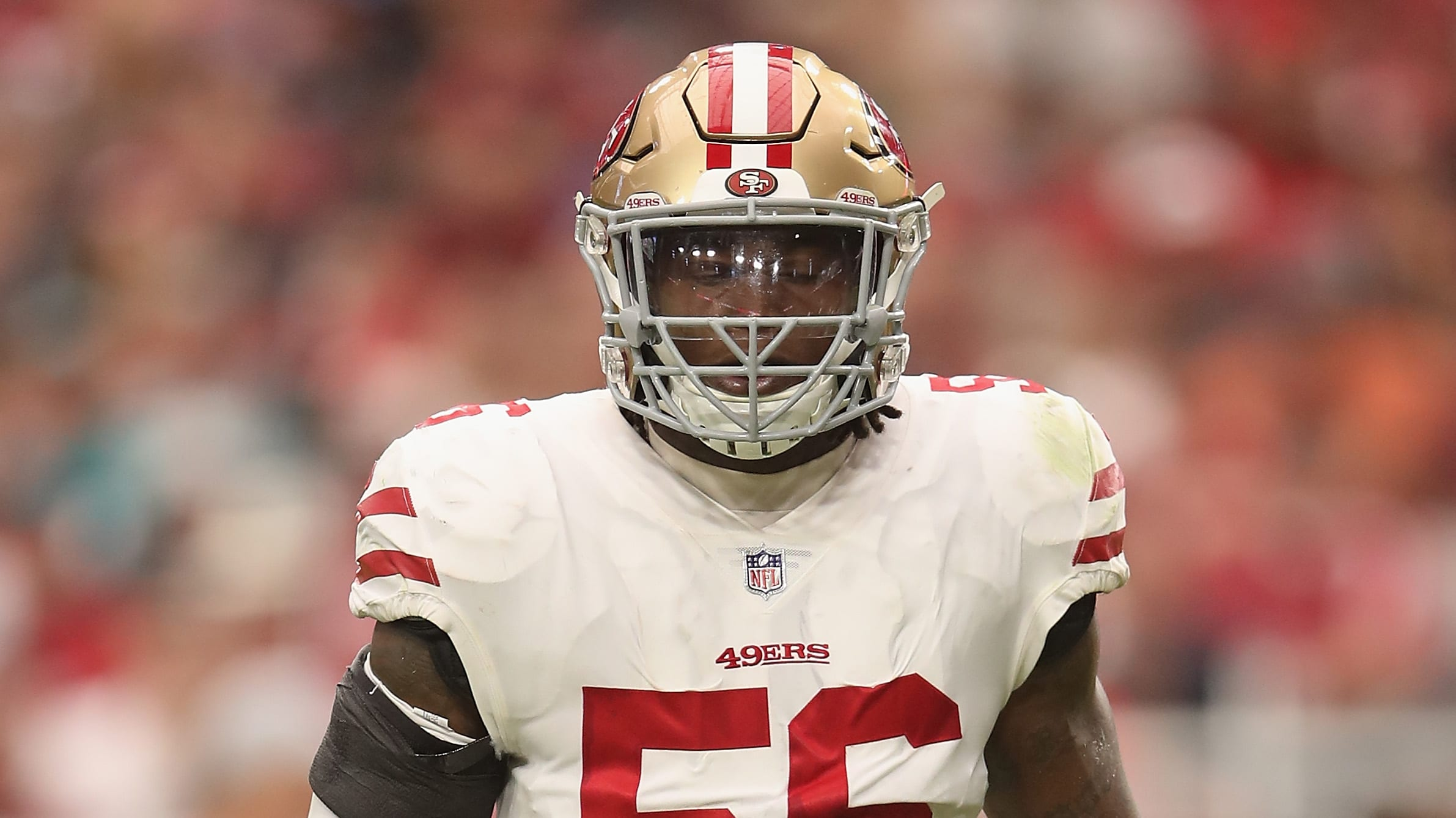 GLENDALE, AZ - OCTOBER 28:  Linebacker Reuben Foster #56 of the San Francisco 49ers during the NFL game against the Arizona Cardinals at State Farm Stadium on October 28, 2018 in Glendale, Arizona.  The Cardinals defeated the 49ers 18-15.  (Photo by Christian Petersen/Getty Images)