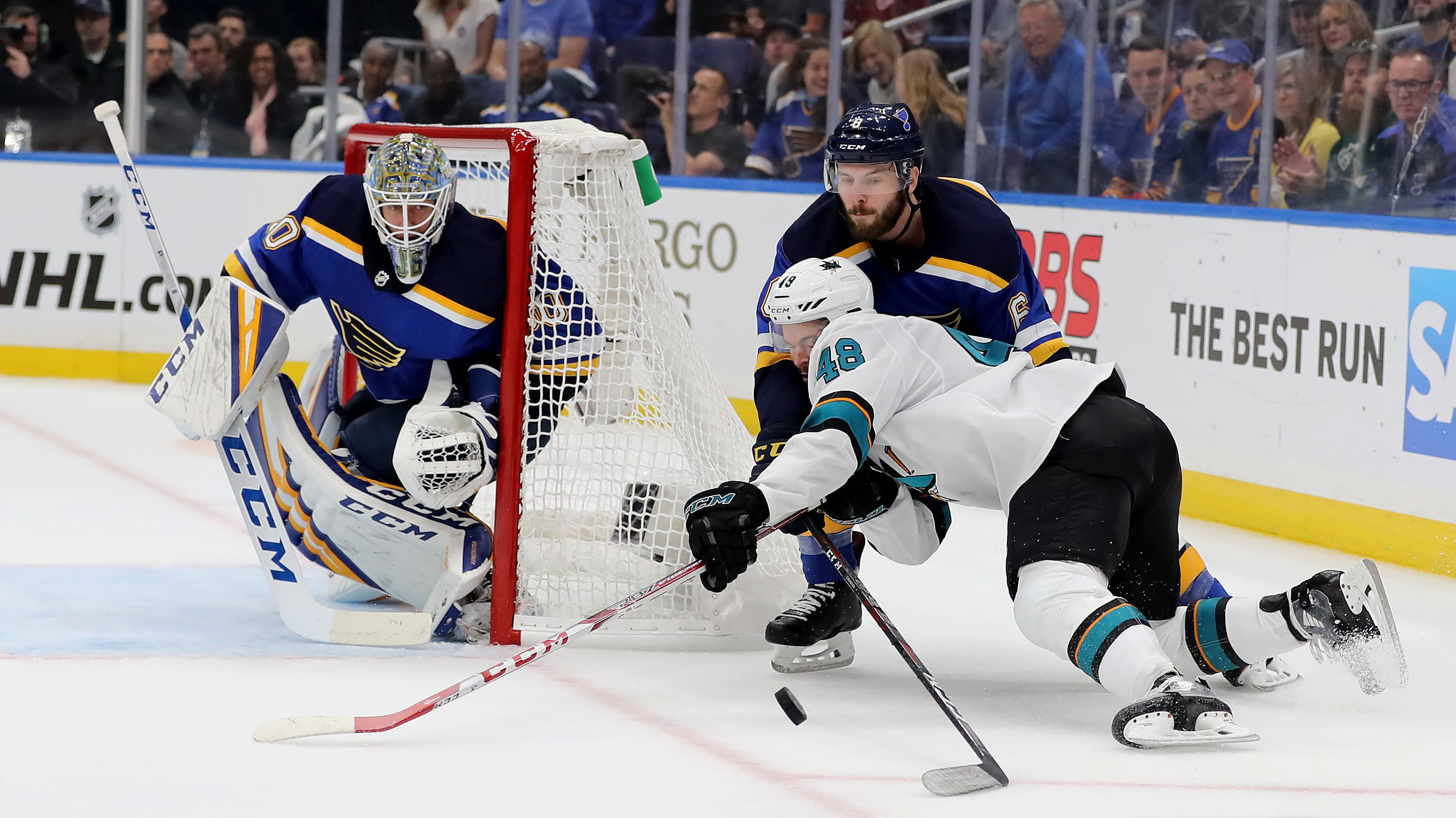 ST LOUIS, MISSOURI - MAY 17: Tomas Hertl #48 of the San Jose Sharks collides with Joel Edmundson #6 of the St. Louis Blues during the first period in Game Four of the Western Conference Finals during the 2019 NHL Stanley Cup Playoffs at Enterprise Center on May 17, 2019 in St Louis, Missouri. (Photo by Elsa/Getty Images)