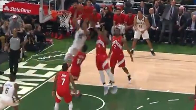 Giannis Antetokounmpo unleashes ridiculous spin move and coast to coast jam against the Raptors.
