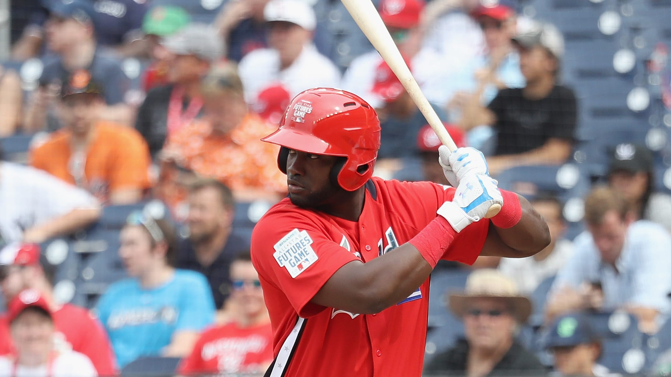 WASHINGTON, DC - JULY 15: Yordan Alvarez #45 of the Houston Astros and the World Team bats against the U.S. Team during the SiriusXM All-Star Futures Game at Nationals Park on July 15, 2018 in Washington, DC.  (Photo by Rob Carr/Getty Images)