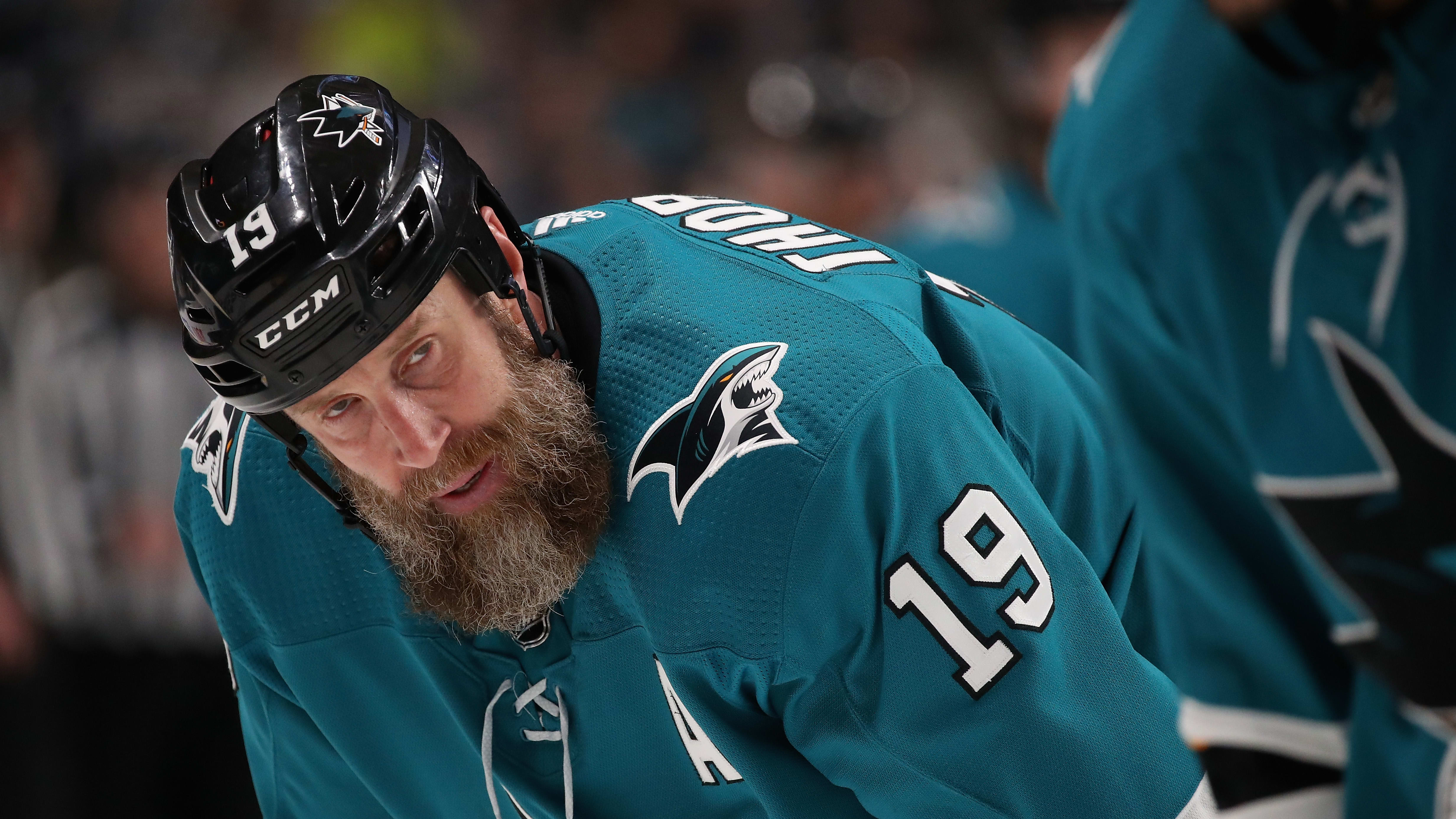 SAN JOSE, CALIFORNIA - MAY 11:  Joe Thornton #19 of the San Jose Sharks against the St. Louis Blues in Game One  NHL Western Conference Final during the 2019 NHL Stanley Cup Playoffs at SAP Center on May 11, 2019 in San Jose, California.  The Sharks defeated the Blues 6-3.  (Photo by Christian Petersen/Getty Images)