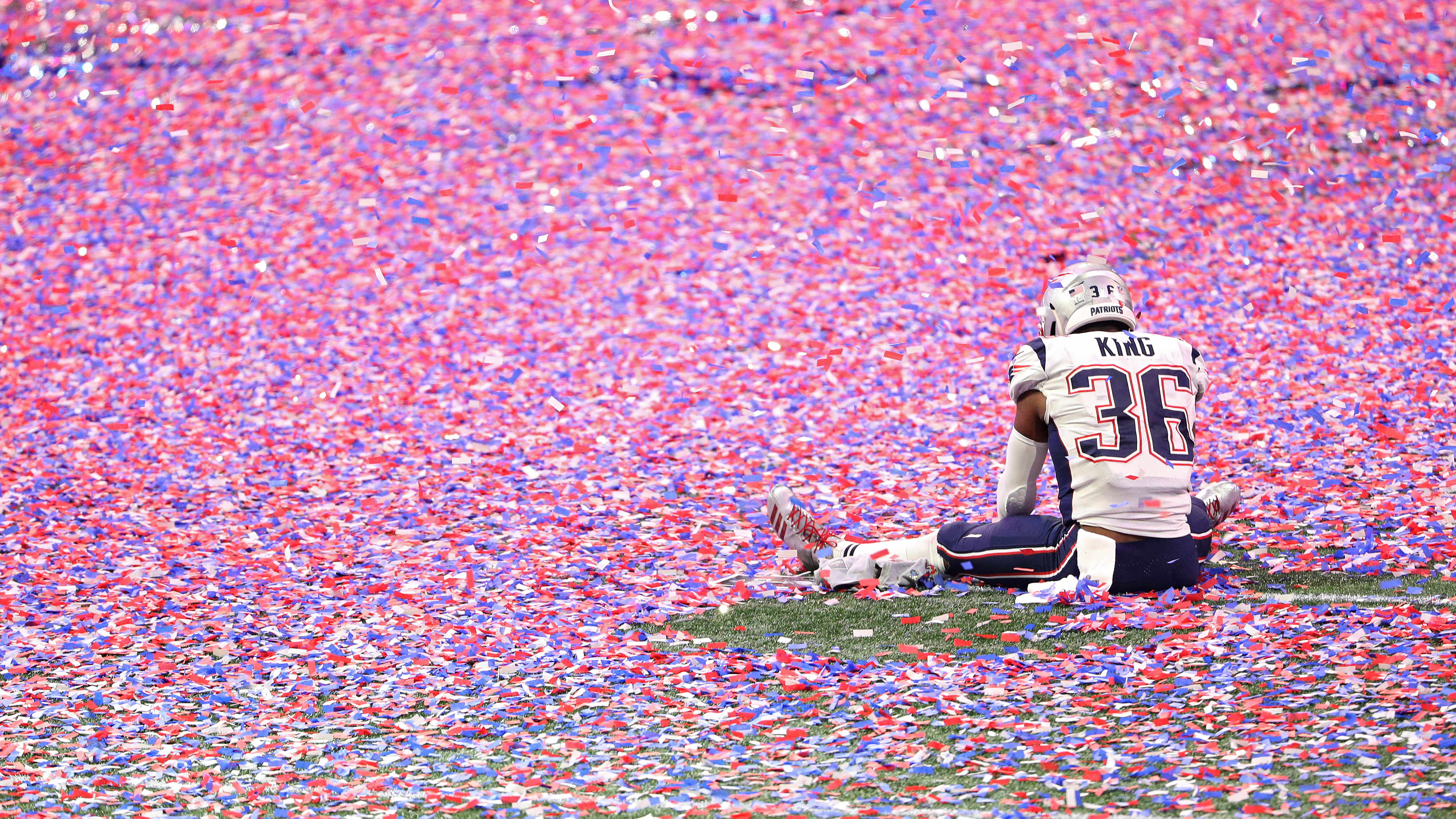 ATLANTA, GEORGIA - FEBRUARY 03: Brandon King #36 of the New England Patriots celebrates after defeating the Los Angeles Ram in Super Bowl LIII at Mercedes-Benz Stadium on February 03, 2019 in Atlanta, Georgia. (Photo by Patrick Smith/Getty Images)