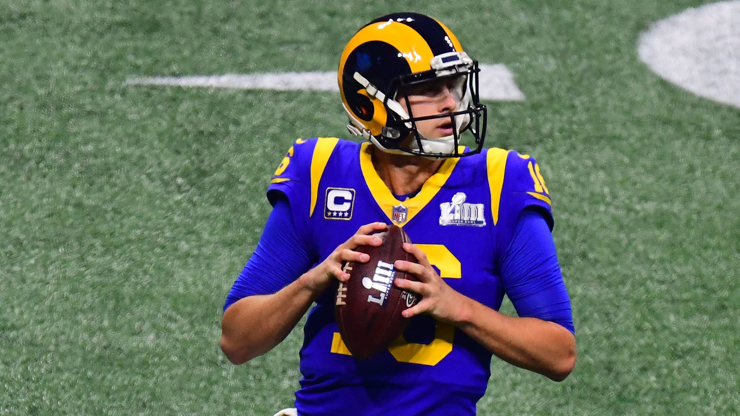 ATLANTA, GEORGIA - FEBRUARY 03: Jared Goff #16 of the Los Angeles Rams attempts a pass against New England Patriots in the second half  during Super Bowl LIII at Mercedes-Benz Stadium on February 03, 2019 in Atlanta, Georgia. (Photo by Scott Cunningham/Getty Images)