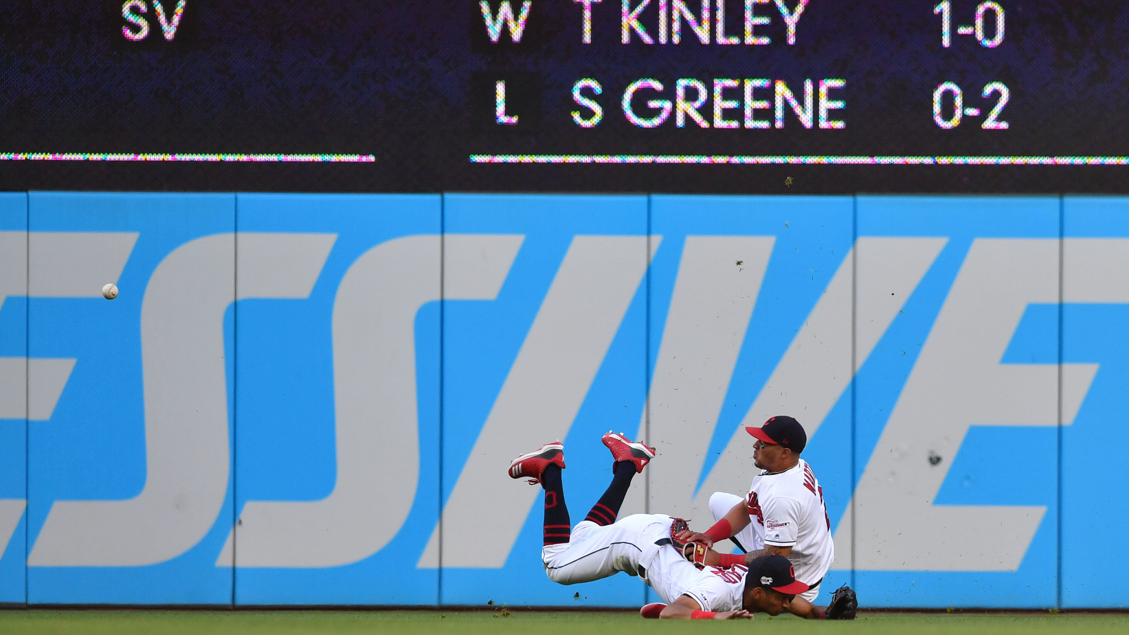 CLEVELAND, OHIO - MAY 23: Left fielder Oscar Mercado #35 of the Cleveland Indians runs into center fielder Leonys Martin #2  on a fly ball off the bat of Kevin Kiermaier of the Tampa Bay Rays in the sixth inning at Progressive Field on May 23, 2019 in Cleveland, Ohio. (Photo by Jason Miller/Getty Images)