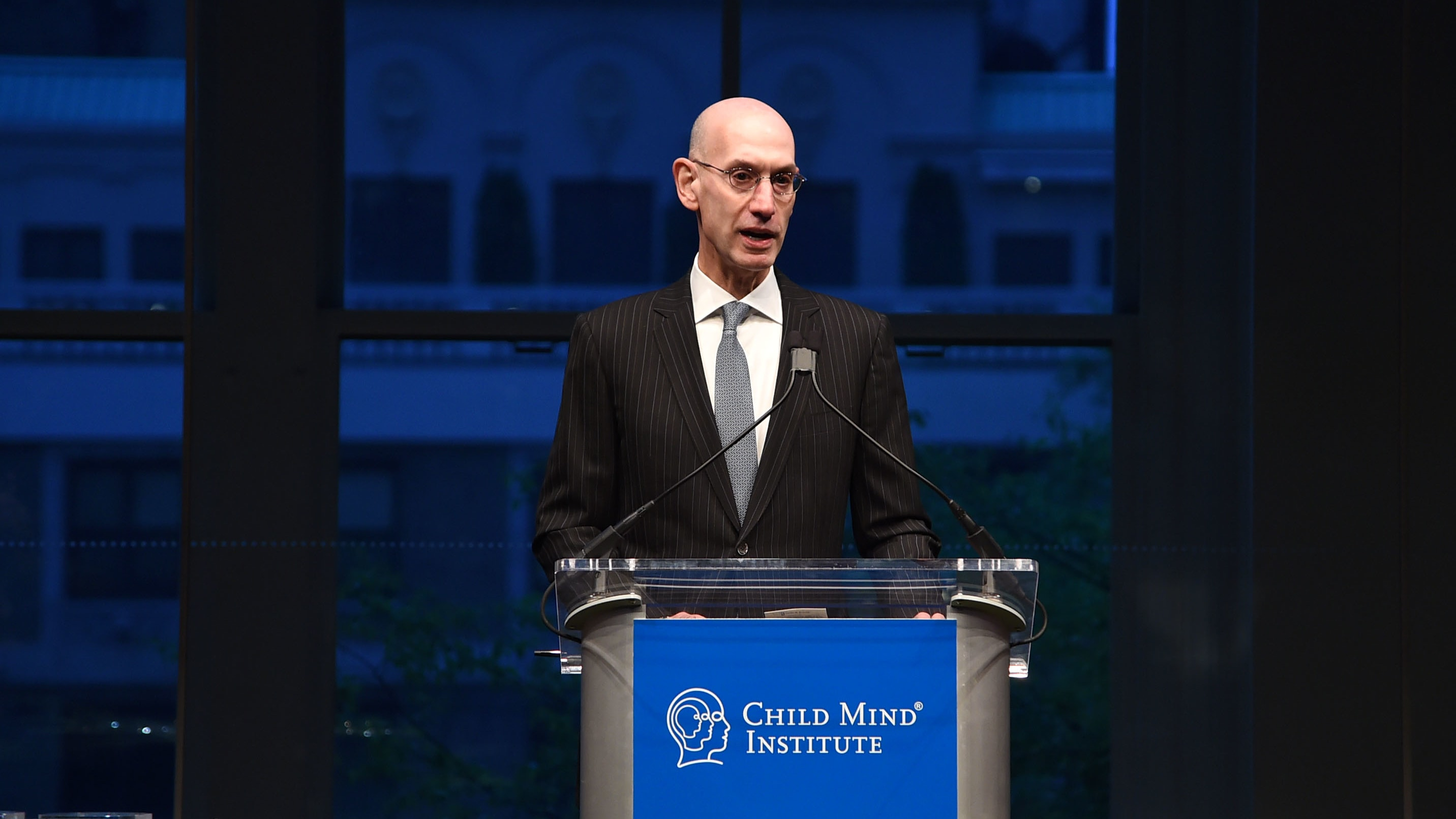 NEW YORK, NEW YORK - MAY 01: Presenter Adam Silver speaks on stage during the Child Mind Institute's 2019 Change Maker Awards at Carnegie Hall on May 01, 2019 in New York City. (Photo by Jamie McCarthy/Getty Images for Child Mind Institute)