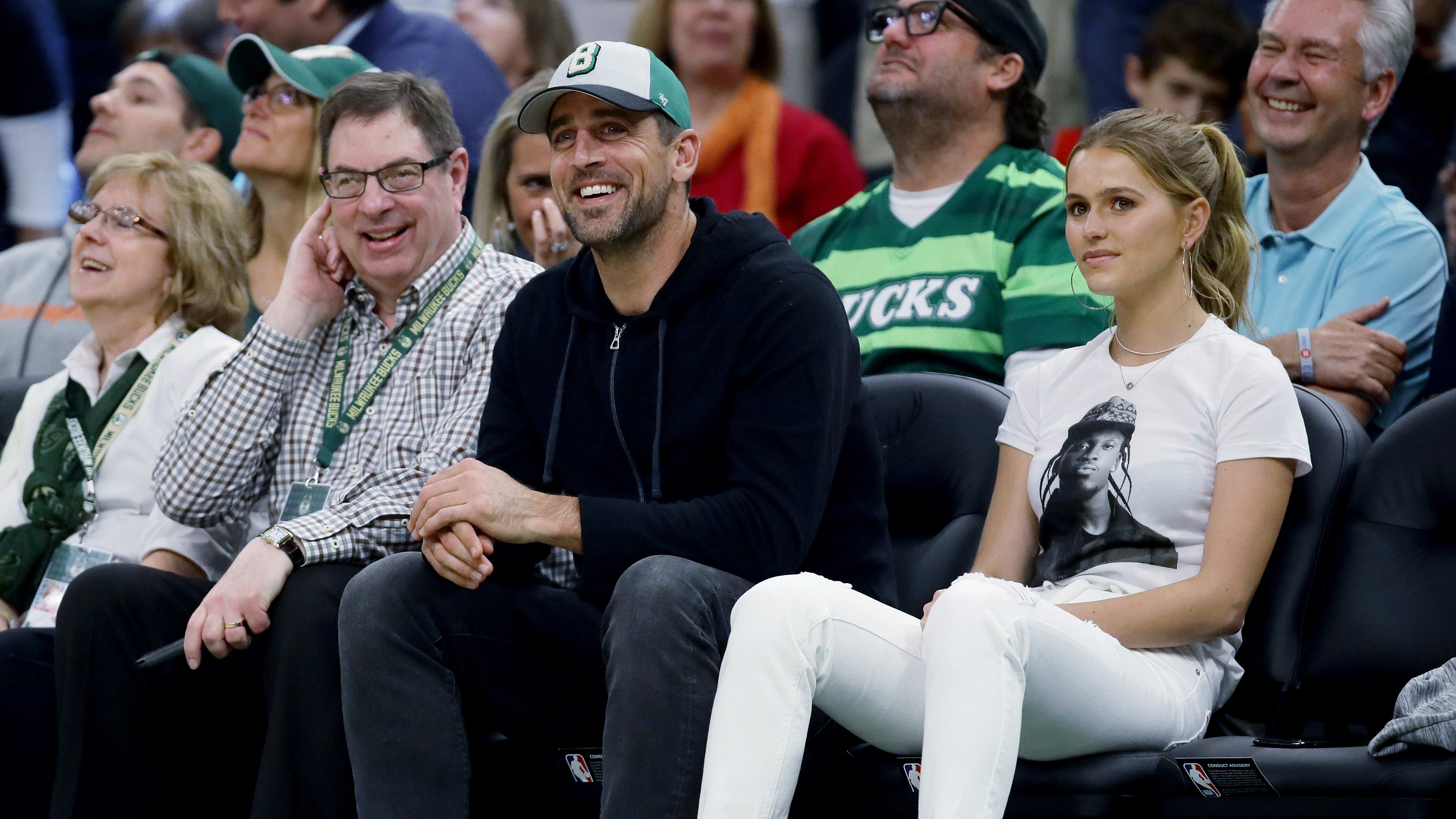 MILWAUKEE, WISCONSIN - MAY 23:  Aaron Rodgers of the Green Bay Packers looks on during Game Five of the Eastern Conference Finals of the 2019 NBA Playoffs between the Toronto Raptors and Milwaukee Bucks at the Fiserv Forum on May 23, 2019 in Milwaukee, Wisconsin. NOTE TO USER: User expressly acknowledges and agrees that, by downloading and or using this photograph, User is consenting to the terms and conditions of the Getty Images License Agreement. (Photo by Jonathan Daniel/Getty Images)