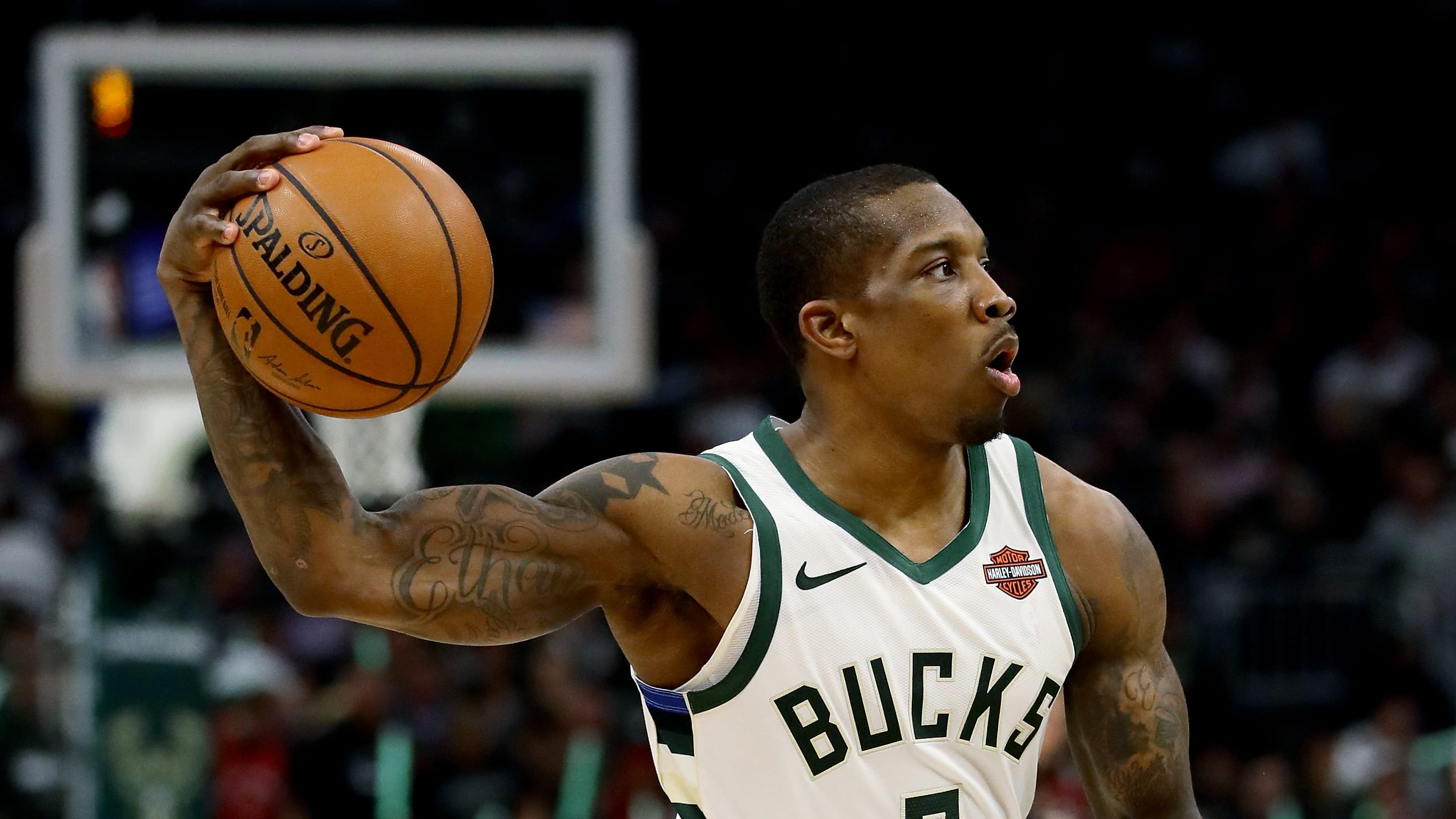 MILWAUKEE, WISCONSIN - MAY 17:  Eric Bledsoe #6 of the Milwaukee Bucks during Game Two of the Eastern Conference Finals of the 2019 NBA Playoffs at the Fiserv Forum on May 17, 2019 in Milwaukee, Wisconsin. NOTE TO USER: User expressly acknowledges and agrees that, by downloading and or using this photograph, User is consenting to the terms and conditions of the Getty Images License Agreement. (Photo by Jonathan Daniel/Getty Images)