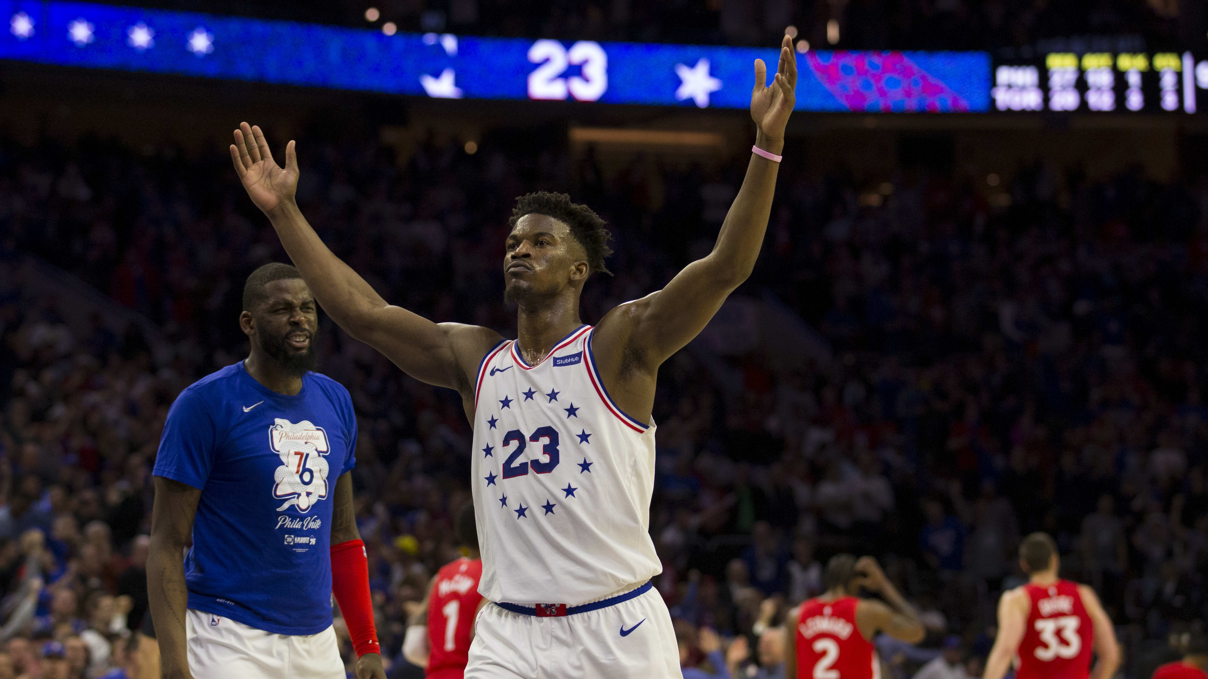 PHILADELPHIA, PA - MAY 09: Jimmy Butler #23 of the Philadelphia 76ers reacts at the end of the second quarter of Game Six of the Eastern Conference Semifinals against the Toronto Raptors at the Wells Fargo Center on May 9, 2019 in Philadelphia, Pennsylvania. NOTE TO USER: User expressly acknowledges and agrees that, by downloading and or using this photograph, User is consenting to the terms and conditions of the Getty Images License Agreement. (Photo by Mitchell Leff/Getty Images)