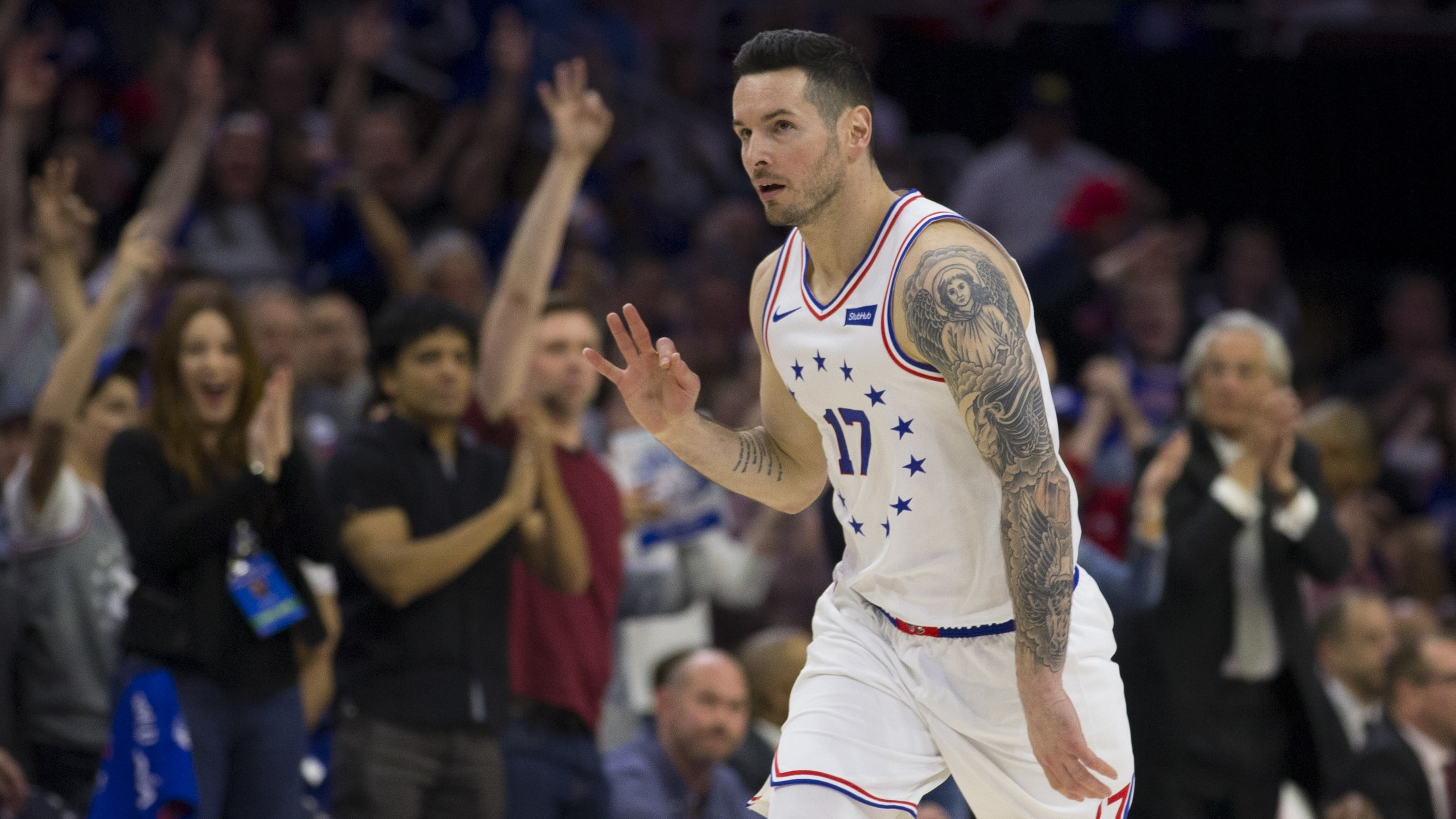 PHILADELPHIA, PA - MAY 09: JJ Redick #17 of the Philadelphia 76ers reacts after making a three point basket against the Toronto Raptors in the second quarter of Game Six of the Eastern Conference Semifinals at the Wells Fargo Center on May 9, 2019 in Philadelphia, Pennsylvania. NOTE TO USER: User expressly acknowledges and agrees that, by downloading and or using this photograph, User is consenting to the terms and conditions of the Getty Images License Agreement. (Photo by Mitchell Leff/Getty Images)