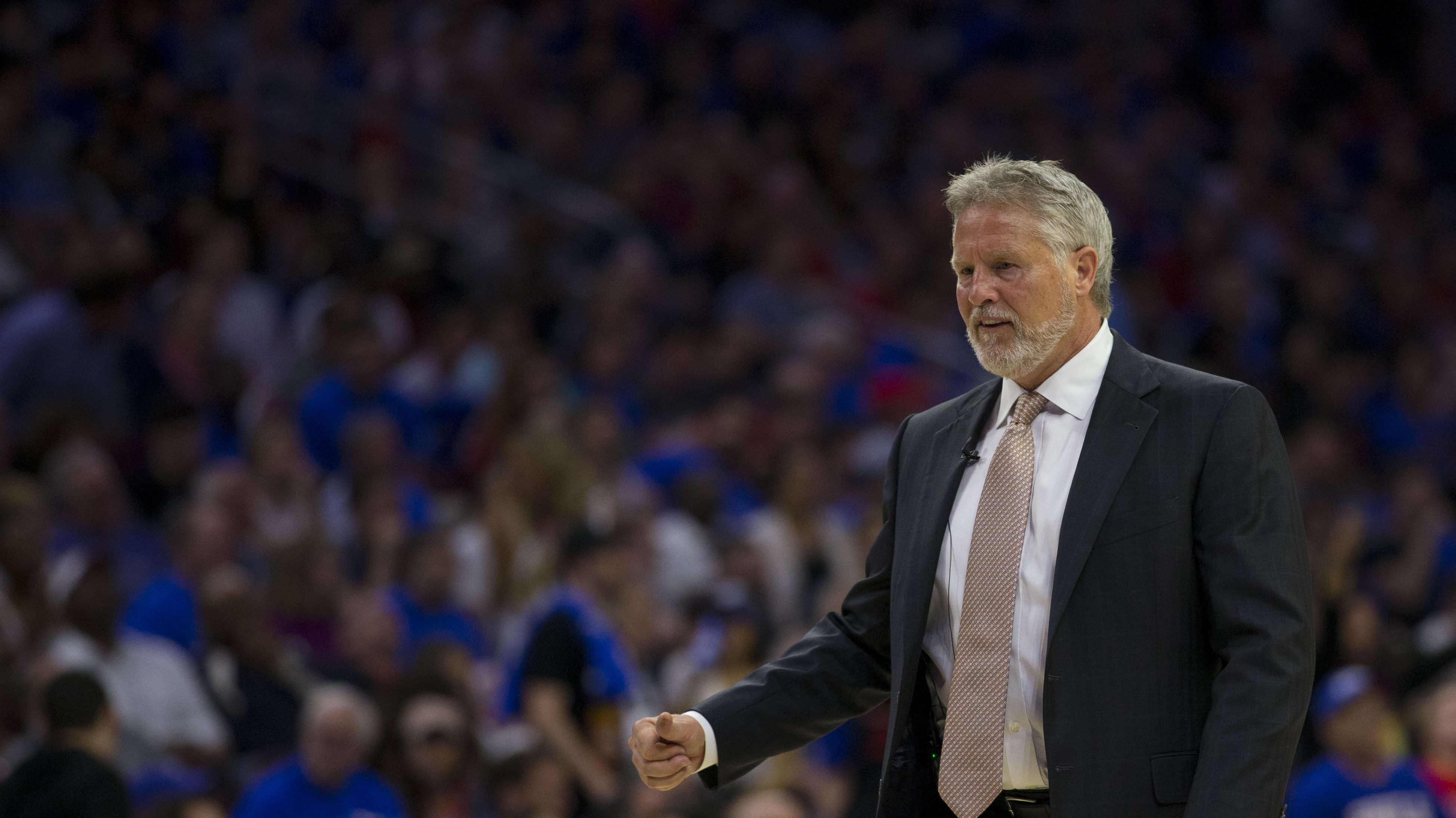 PHILADELPHIA, PA - MAY 02: Head coach Brett Brown of the Philadelphia 76ers reacts against the Toronto Raptors in Game Three of the Eastern Conference Semifinals at the Wells Fargo Center on May 2, 2019 in Philadelphia, Pennsylvania. The 76ers defeated the Raptors 116-95. NOTE TO USER: User expressly acknowledges and agrees that, by downloading and or using this photograph, User is consenting to the terms and conditions of the Getty Images License Agreement. (Photo by Mitchell Leff/Getty Images)