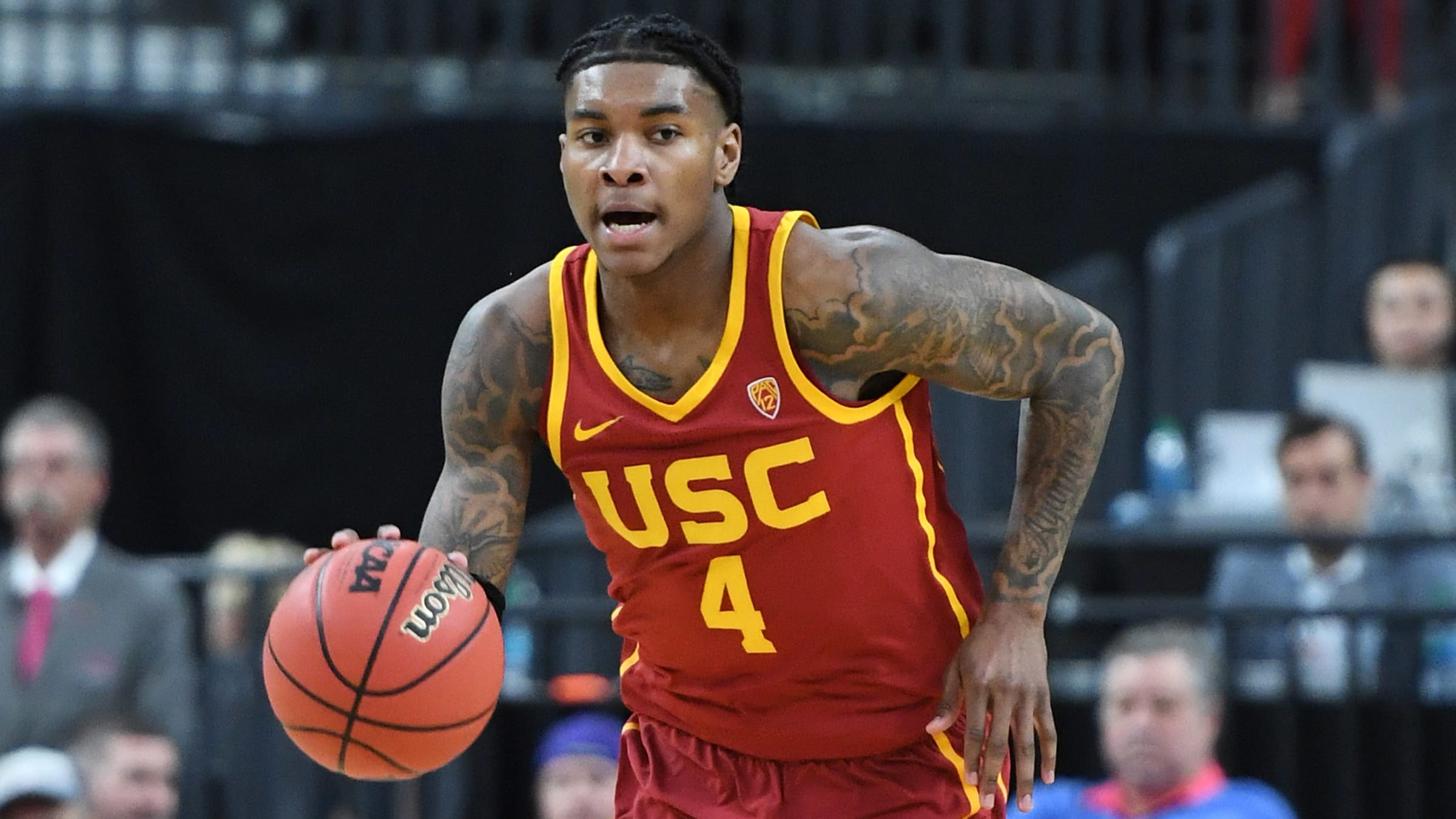 LAS VEGAS, NEVADA - MARCH 14:  Kevin Porter Jr. #4 of the USC Trojans brings the ball up the court against the Washington Huskies during a quarterfinal game of the Pac-12 basketball tournament at T-Mobile Arena on March 14, 2019 in Las Vegas, Nevada. The Huskies defeated the Trojans 78-75.  (Photo by Ethan Miller/Getty Images)
